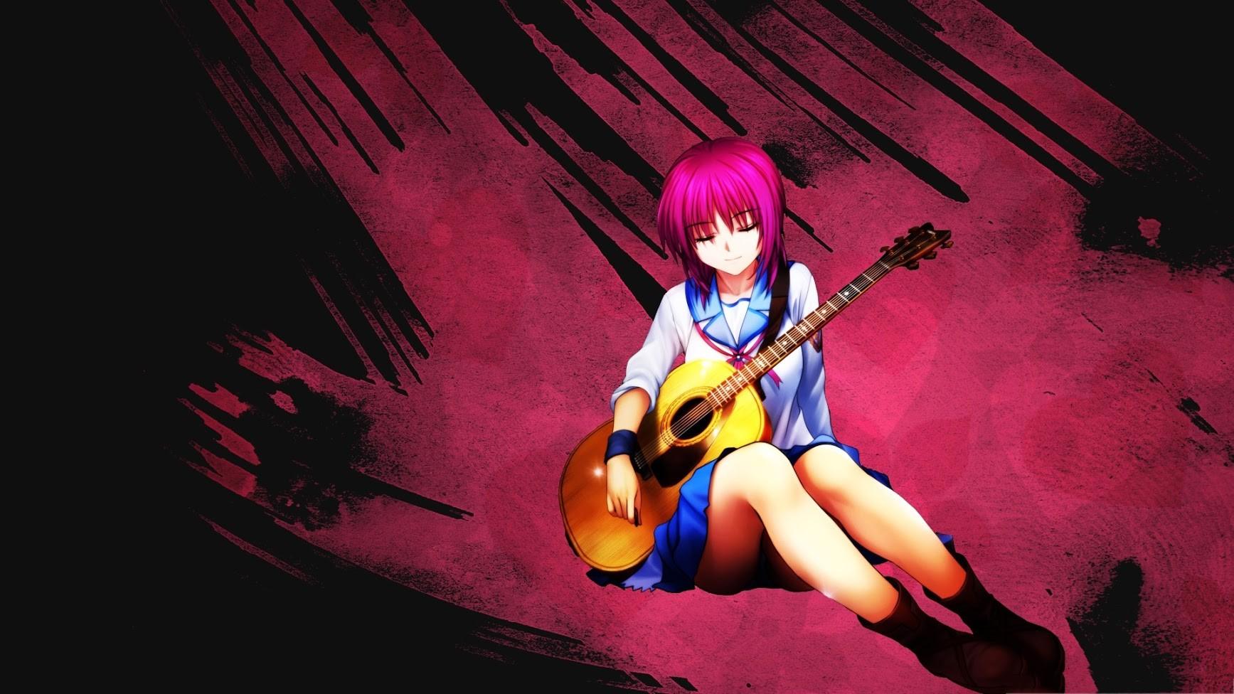 デスクトップ壁紙 図 アニメの女の子 ギター 学生服 エンジェル