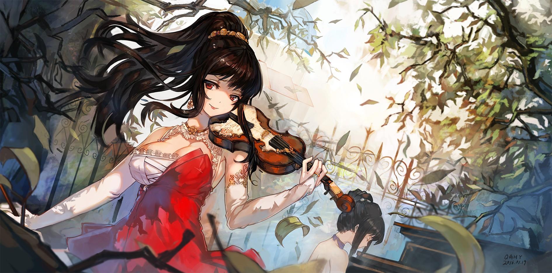 Manga Girl Playing Violin