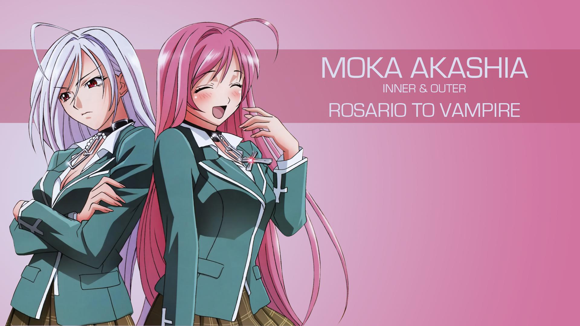 Wallpaper Illustration Anime Girls Pink Rosario Vampire