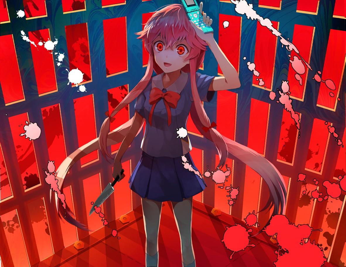 Illustration Anime Girls Red Schoolgirl Mirai Nikki Gasai Yuno Comics Yandere Screenshot Musical Theatre
