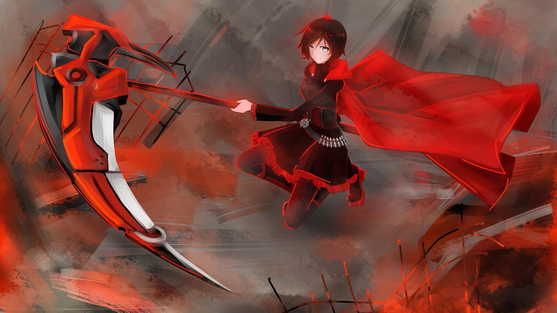 Illustration Anime Girls Red Weapon RWBY Scythe Ruby Rose Character Screenshot Mecha Computer Wallpaper