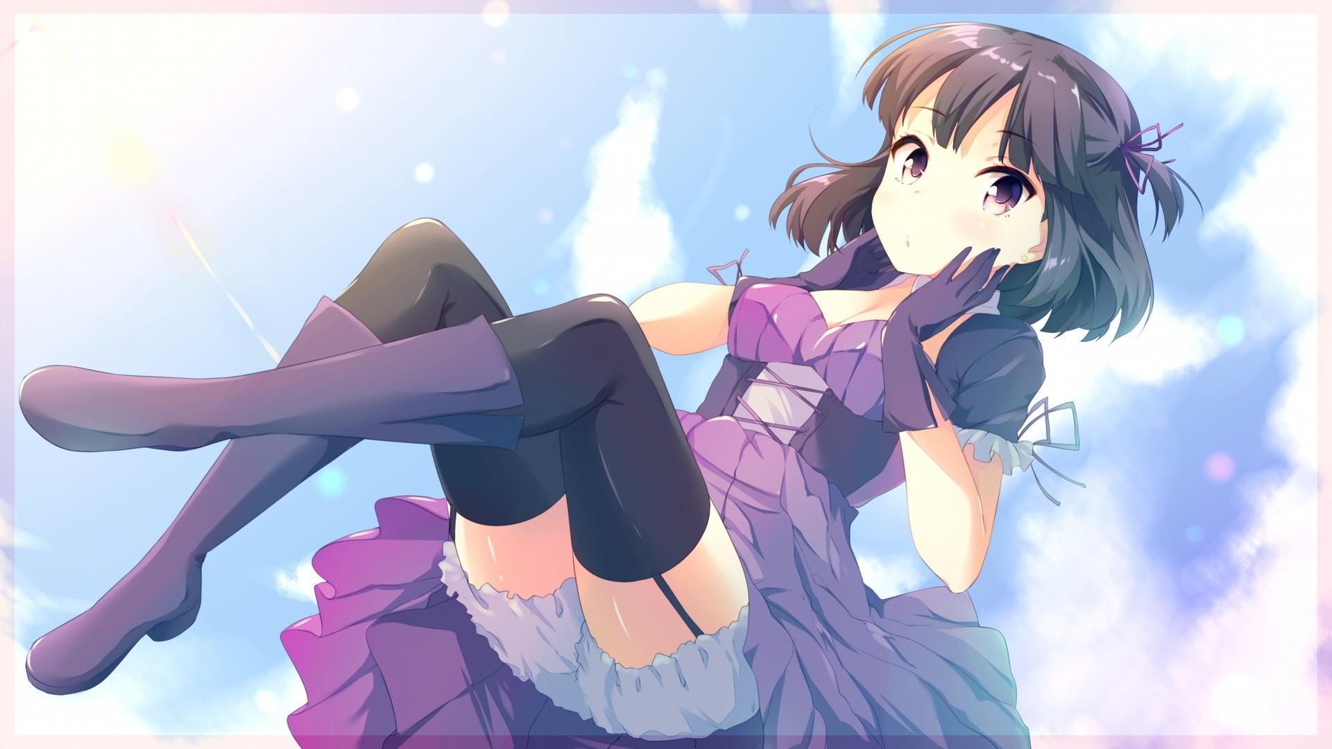 Wallpaper : illustration, anime girls, short hair, gloves, cartoon, black hair, thigh highs ...