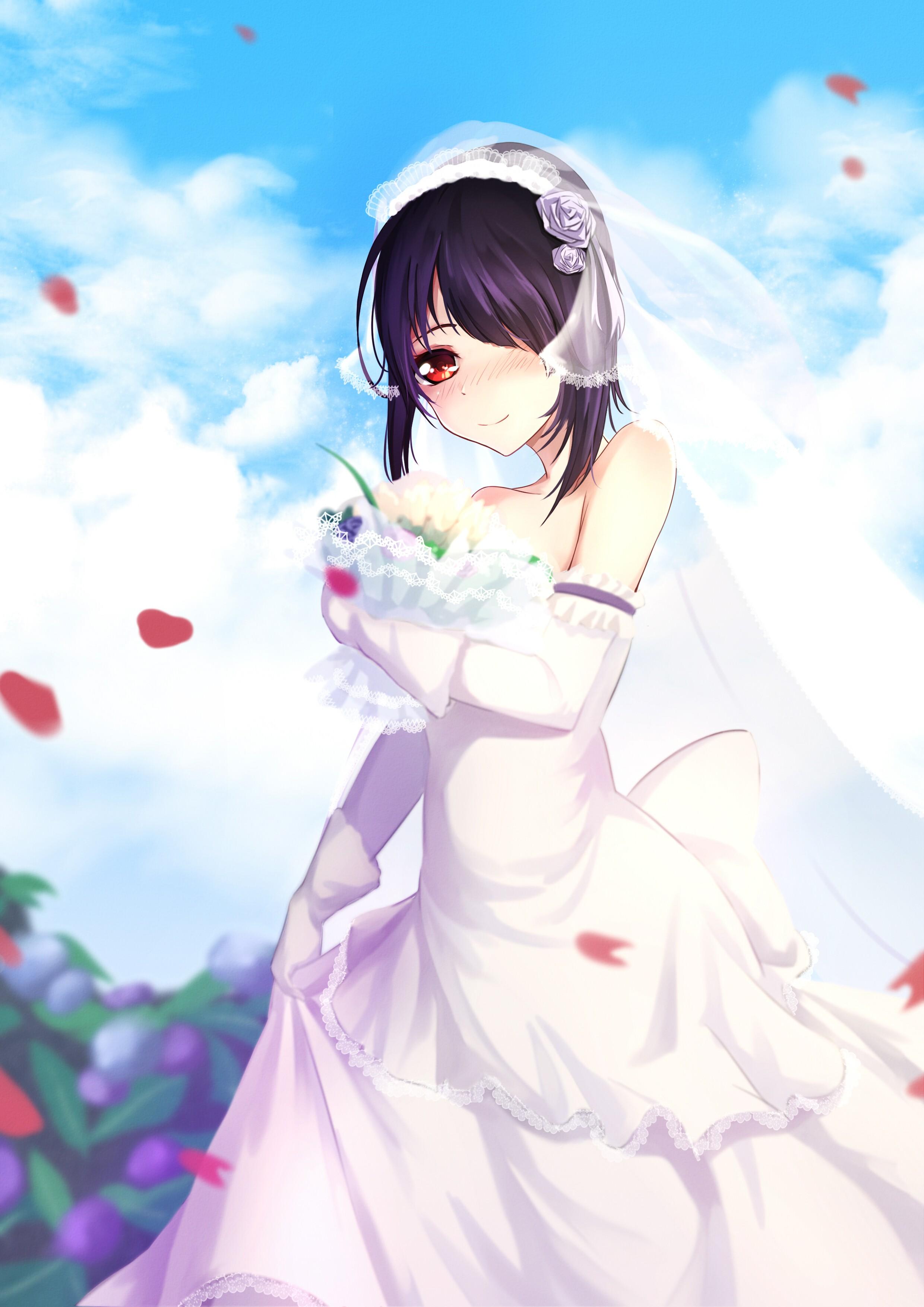 Аниме девушка в свадебном платье картинки