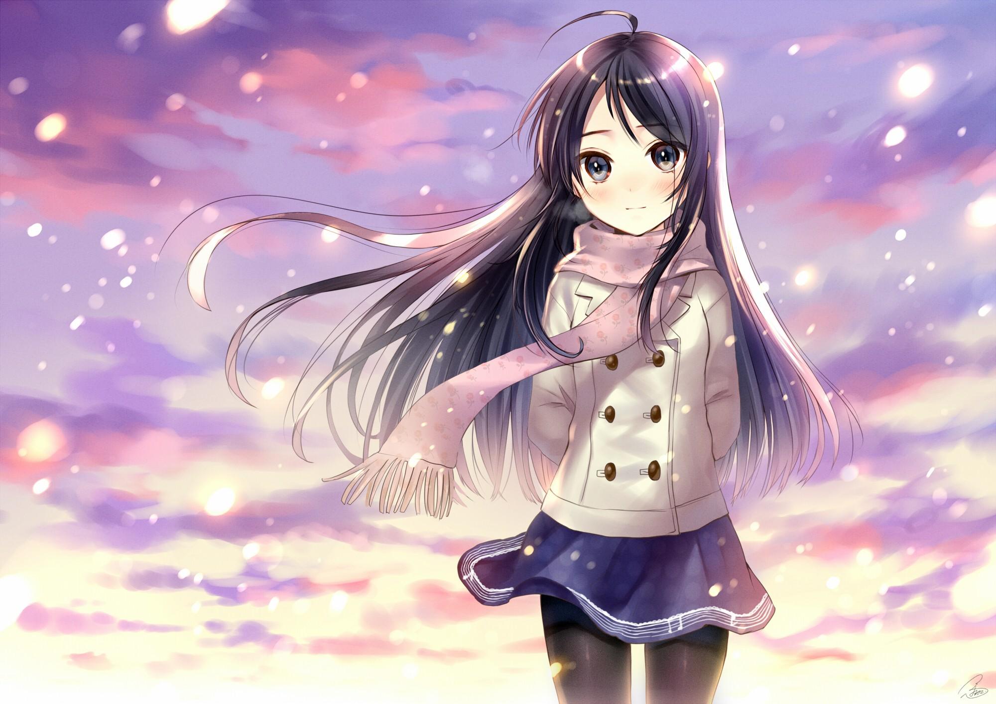 обои ИРРюстрация аниме Аниме девушки снег Цены расширенных