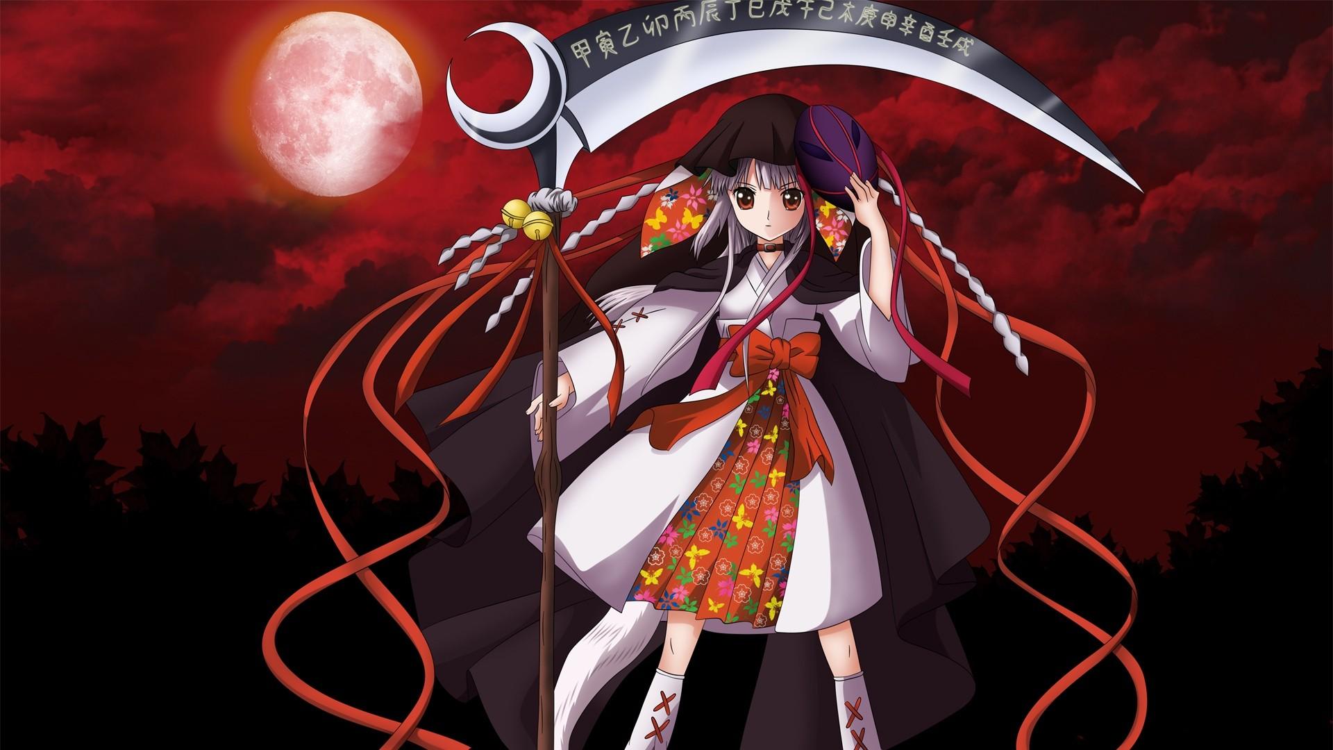 Wallpaper illustration anime girls weapon scythe - Anime girl with weapon ...