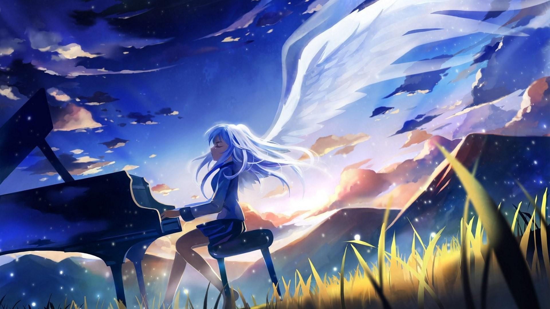Wallpaper Illustration Anime Girls Wings Angel Music Manga