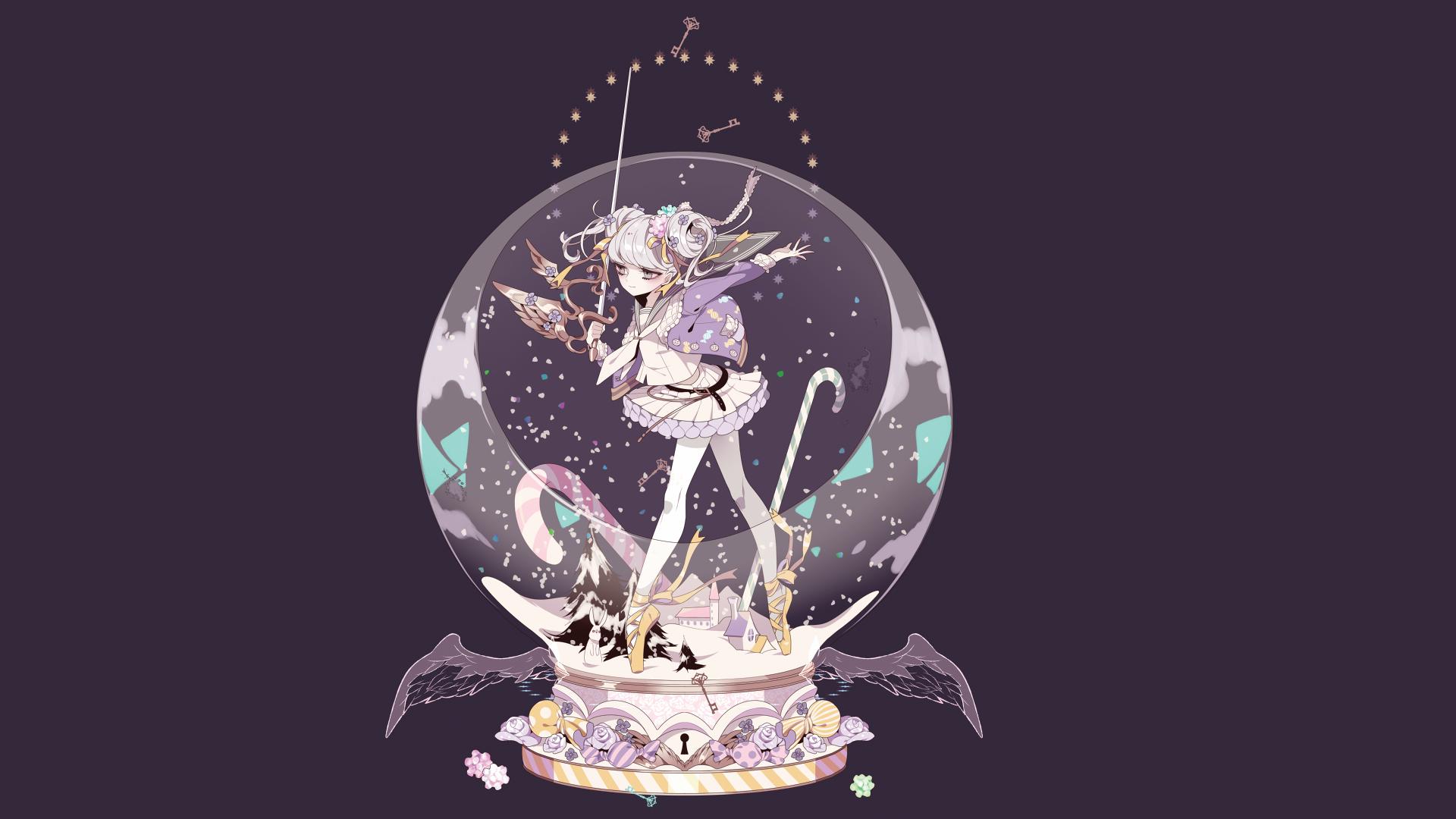 Illustration anime anime girls wings winter bunny ears sphere school uniform skirt sword crystal keys ball