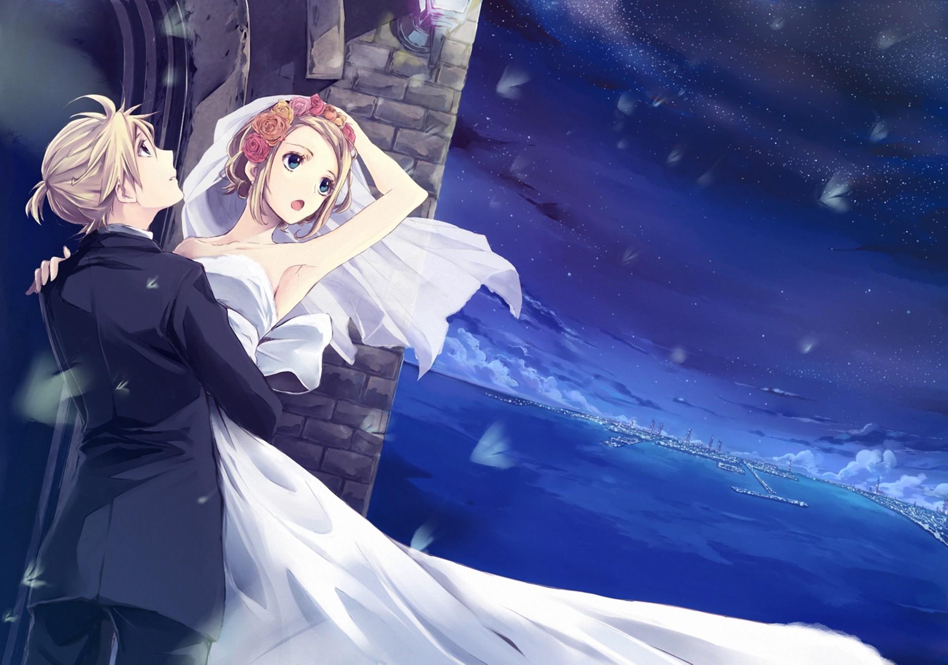 Wallpaper : illustration, anime, blue, Vocaloid, Kagamine Rin