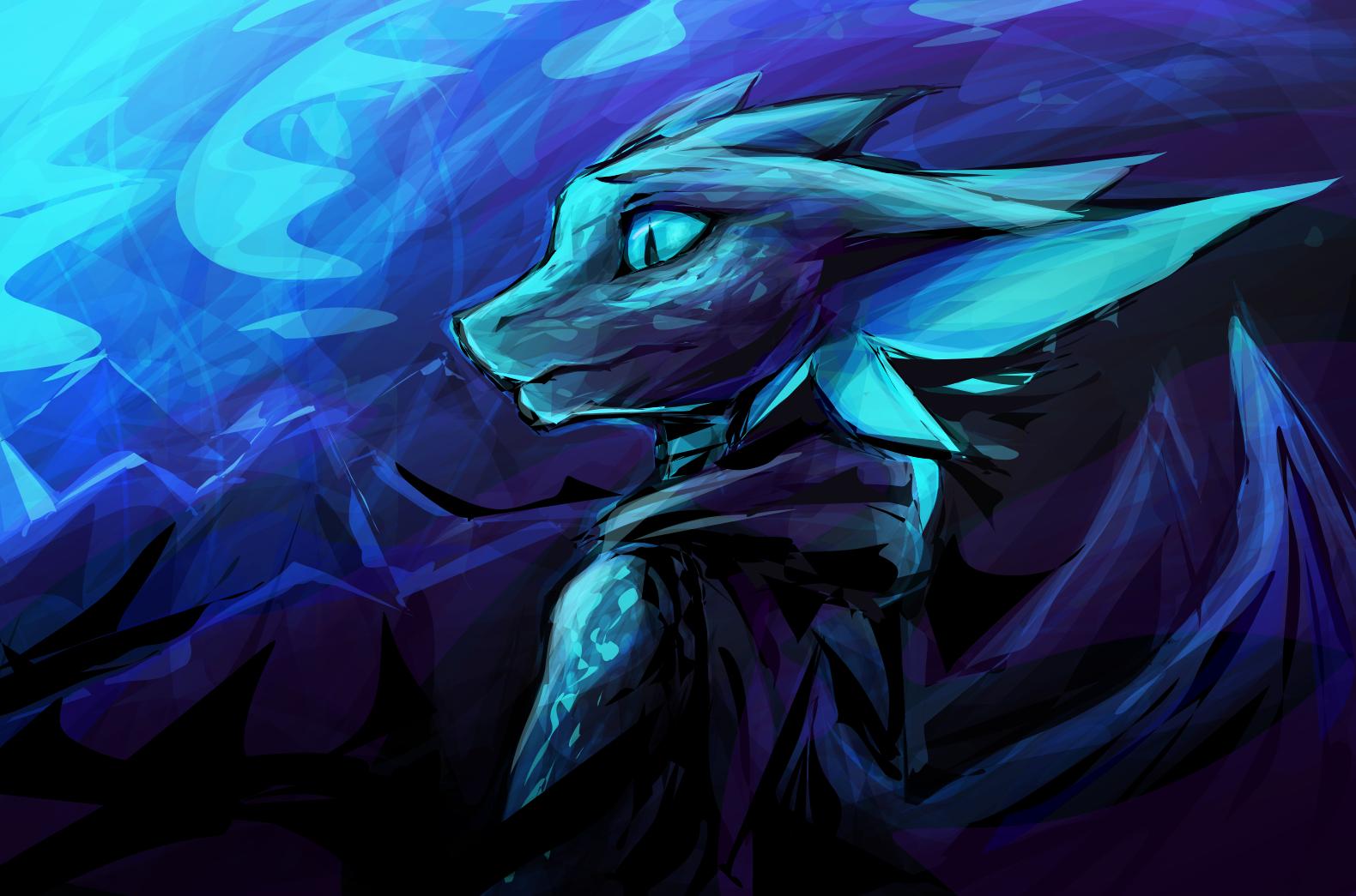 Sfondi Illustrazione Anime Blu Drago Peloso Anthro Oscurità