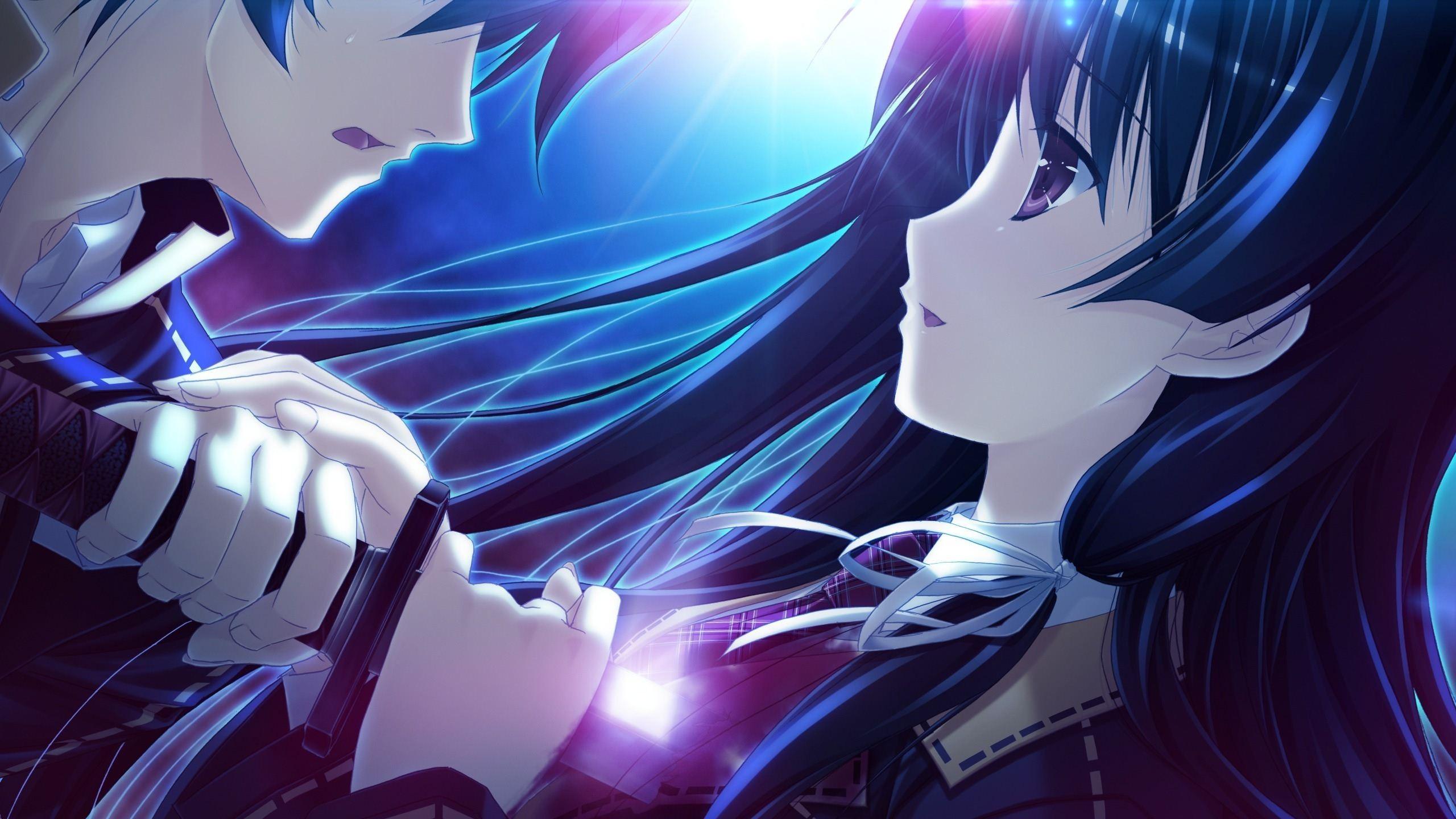 Fond d'écran : illustration, Anime, Cheveux bleus, ouvrages d'art, Manga, Fan art, capture d ...