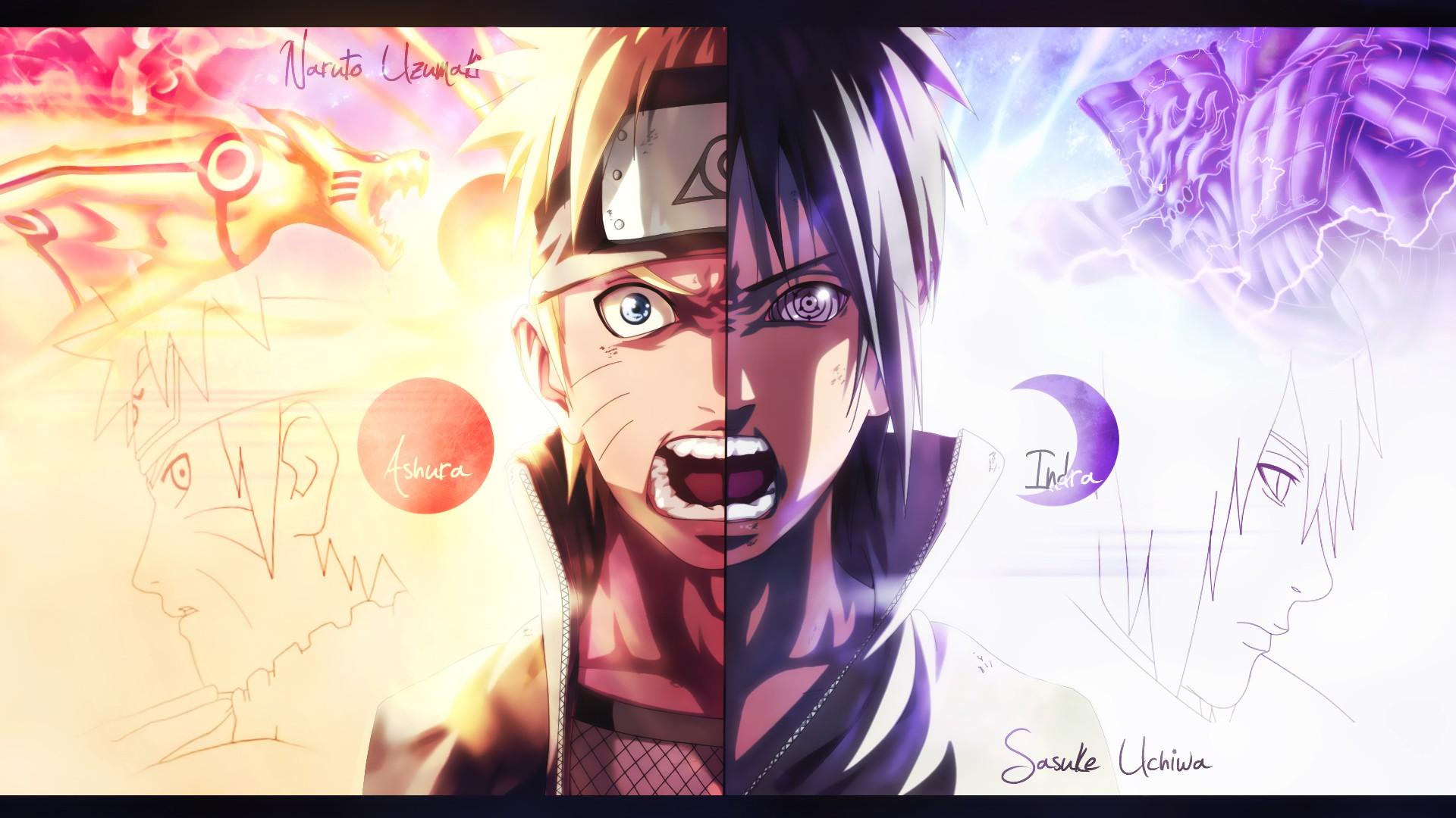 illustration anime cartoon Naruto Shippuuden Uzumaki Naruto Uchiha Sasuke screaming splitting Kurama Susanoo character Rinnegan screenshot mangaka 201653