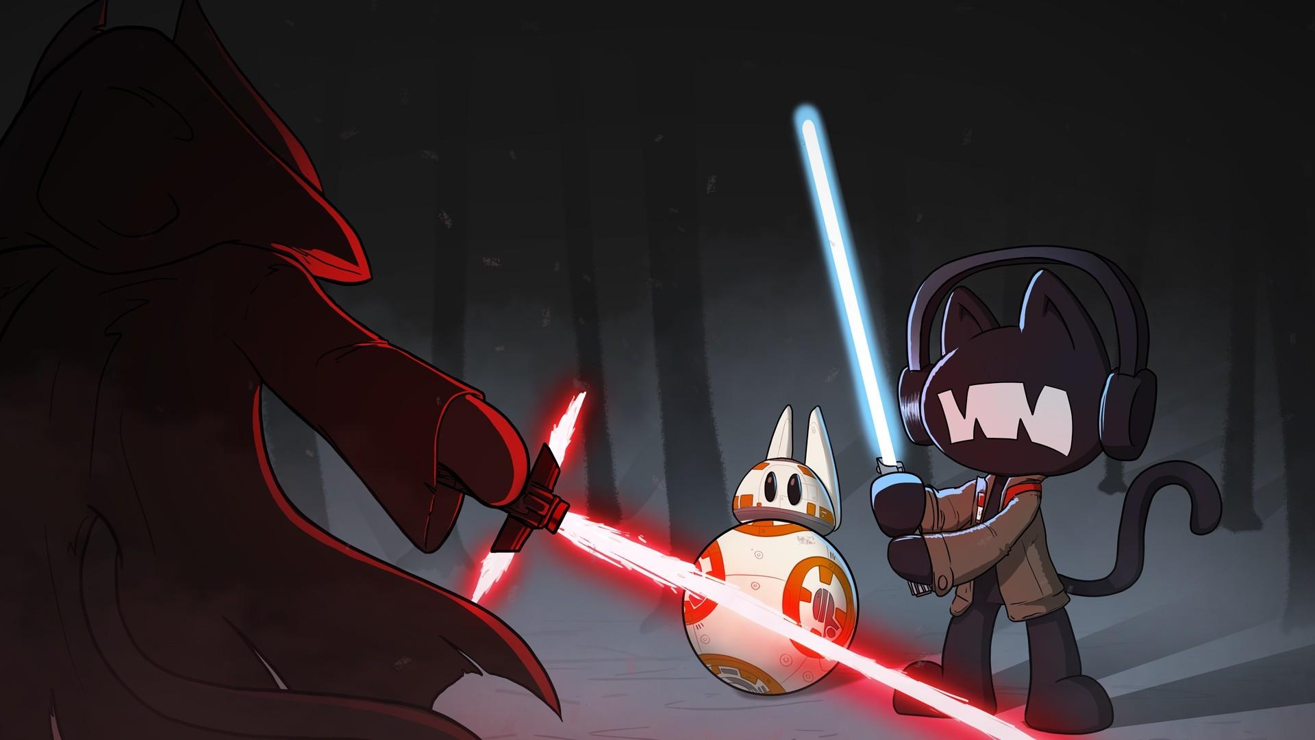 Wallpaper Illustration Anime Cartoon Lightsaber Star Wars