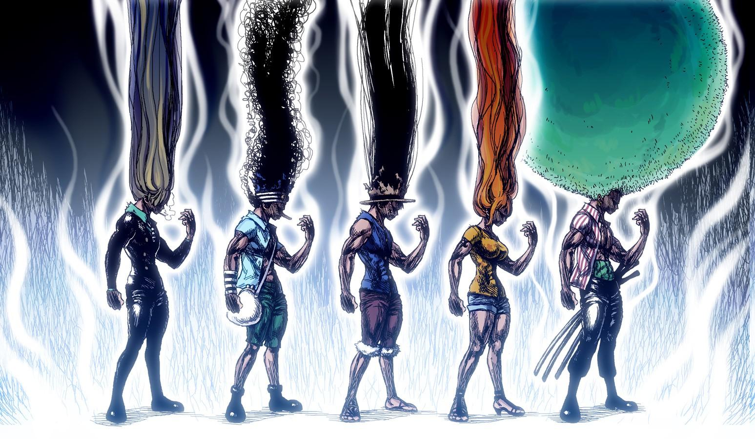 Fond d'écran : illustration, Anime, Crossover, conception graphique, Hunter X Hunter, Une pièce ...