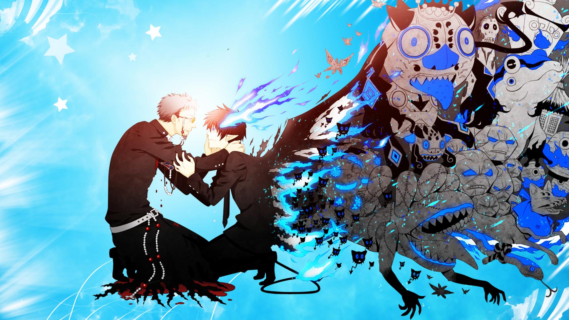 Wallpaper Illustration Anime Demon Blue Exorcist Okumura Rin