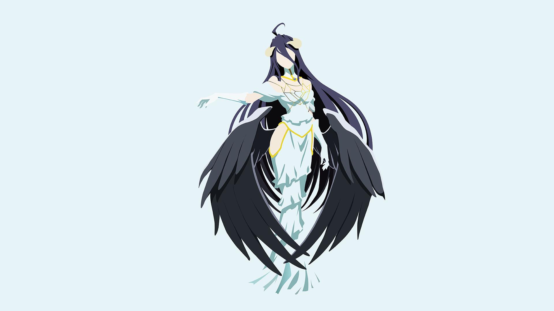 Illustration anime girls bird of prey eagle overlord anime albedo overlord bird macaw wing perching bird