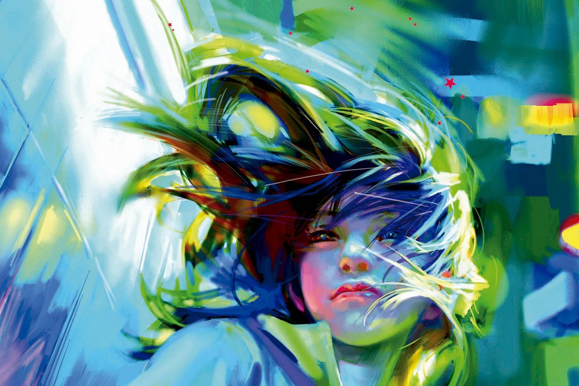 Wallpaper : Illustration, Anime, Green, Wind, ART, Color