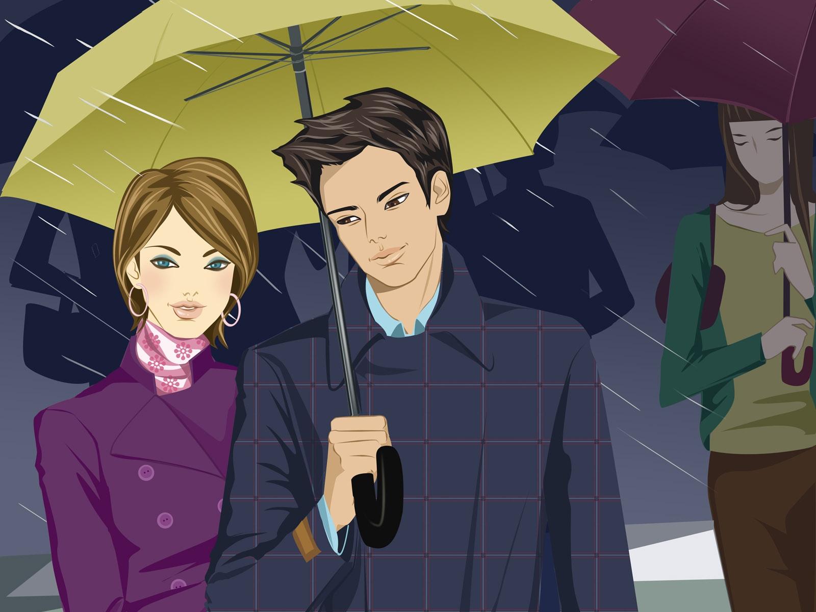 Wallpaper Illustration Anime Love Rain Umbrella Cartoon