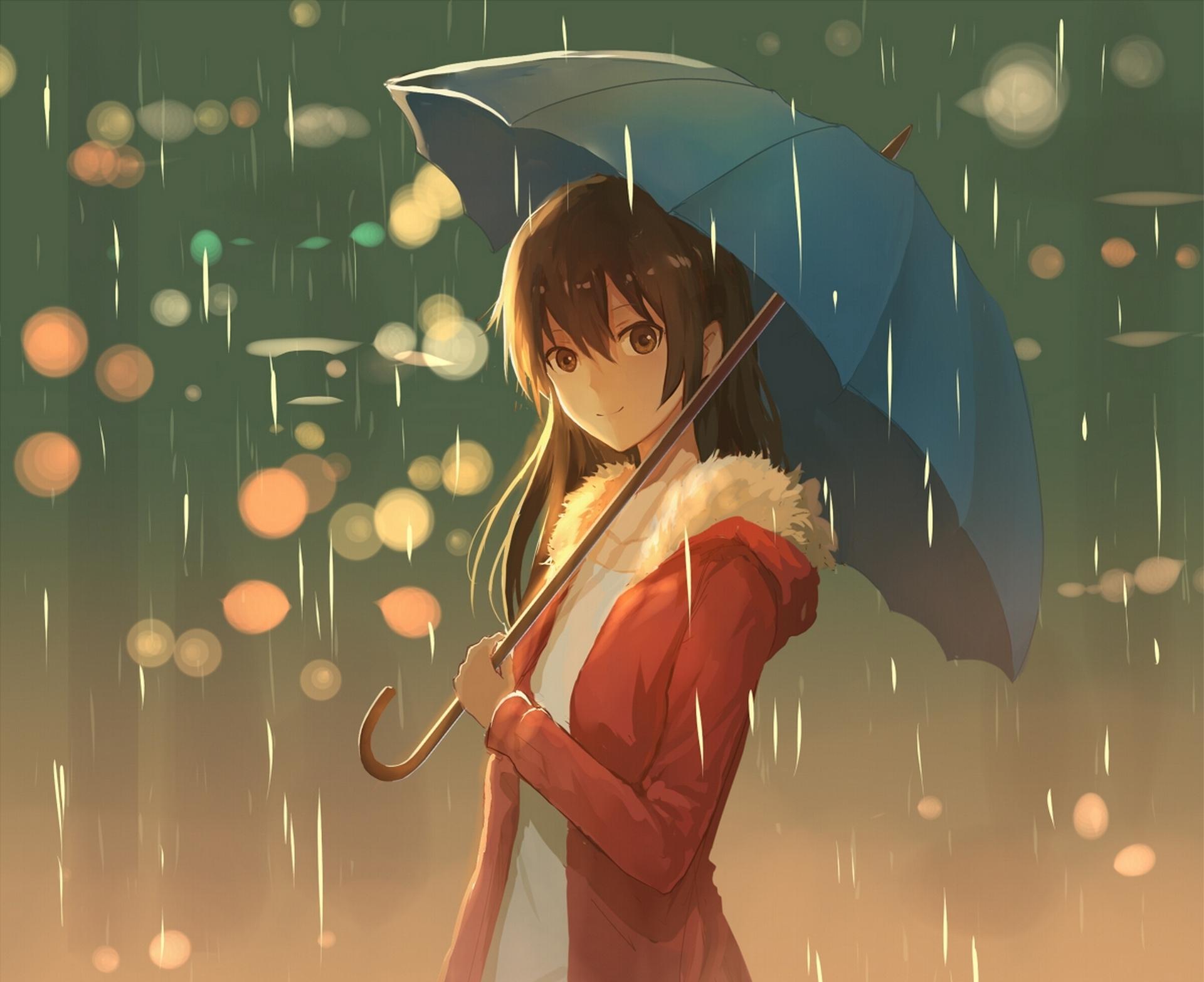 Wallpaper : illustration, anime, rain, umbrella, ART, girl ...