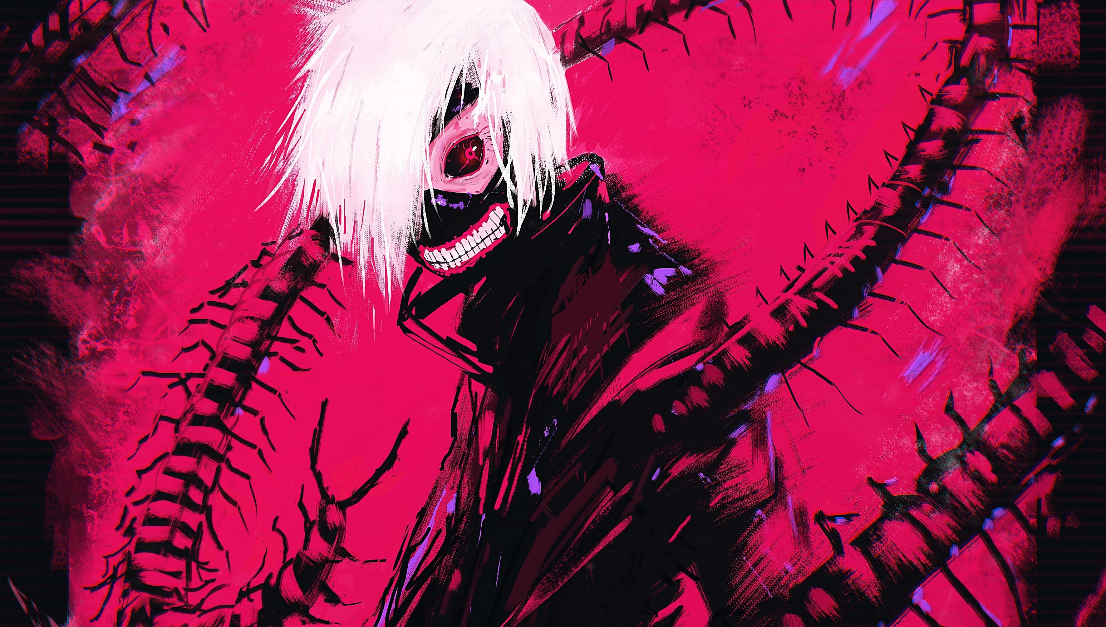 Wallpaper : illustration, anime, red, Kaneki Ken, Tokyo