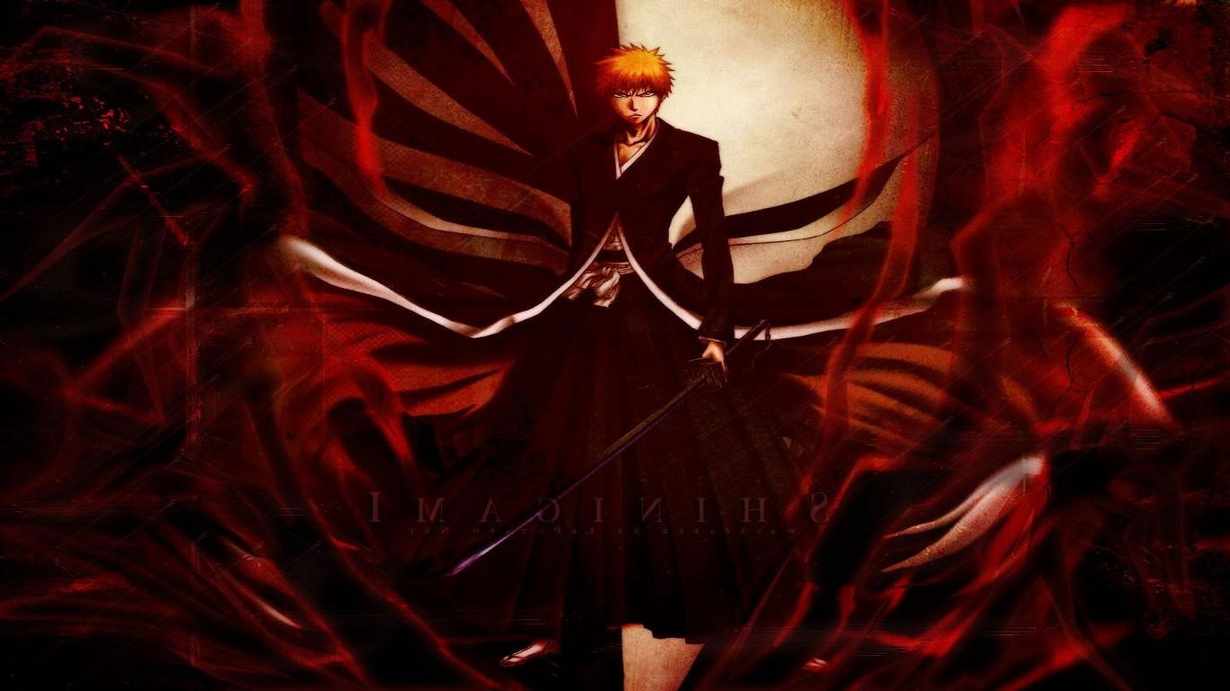 Illustration Anime Red Demon Bleach Kurosaki Ichigo Darkness 1366x768 Px Computer Wallpaper Fictional Character