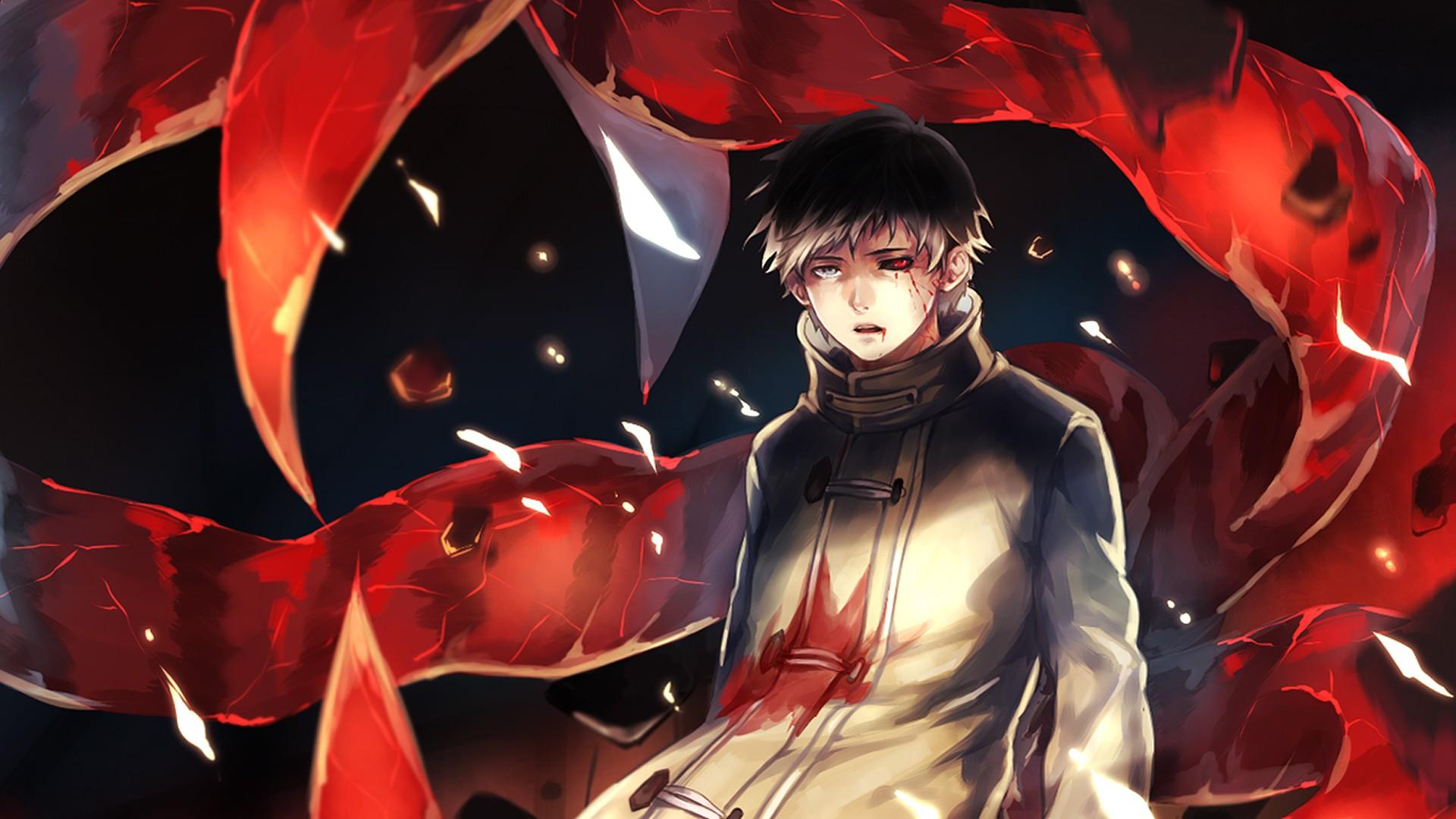 Wallpaper : illustration, anime, red, superhero, Kaneki ...