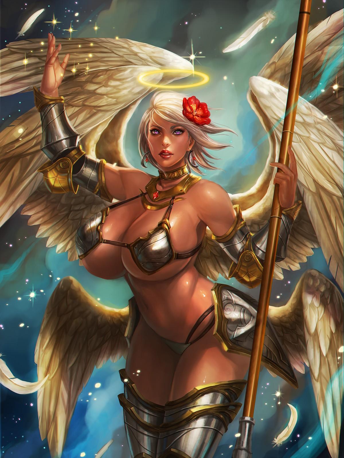 Wallpaper  Illustration, Anime, Wings, Angel, Big Boobs -6538
