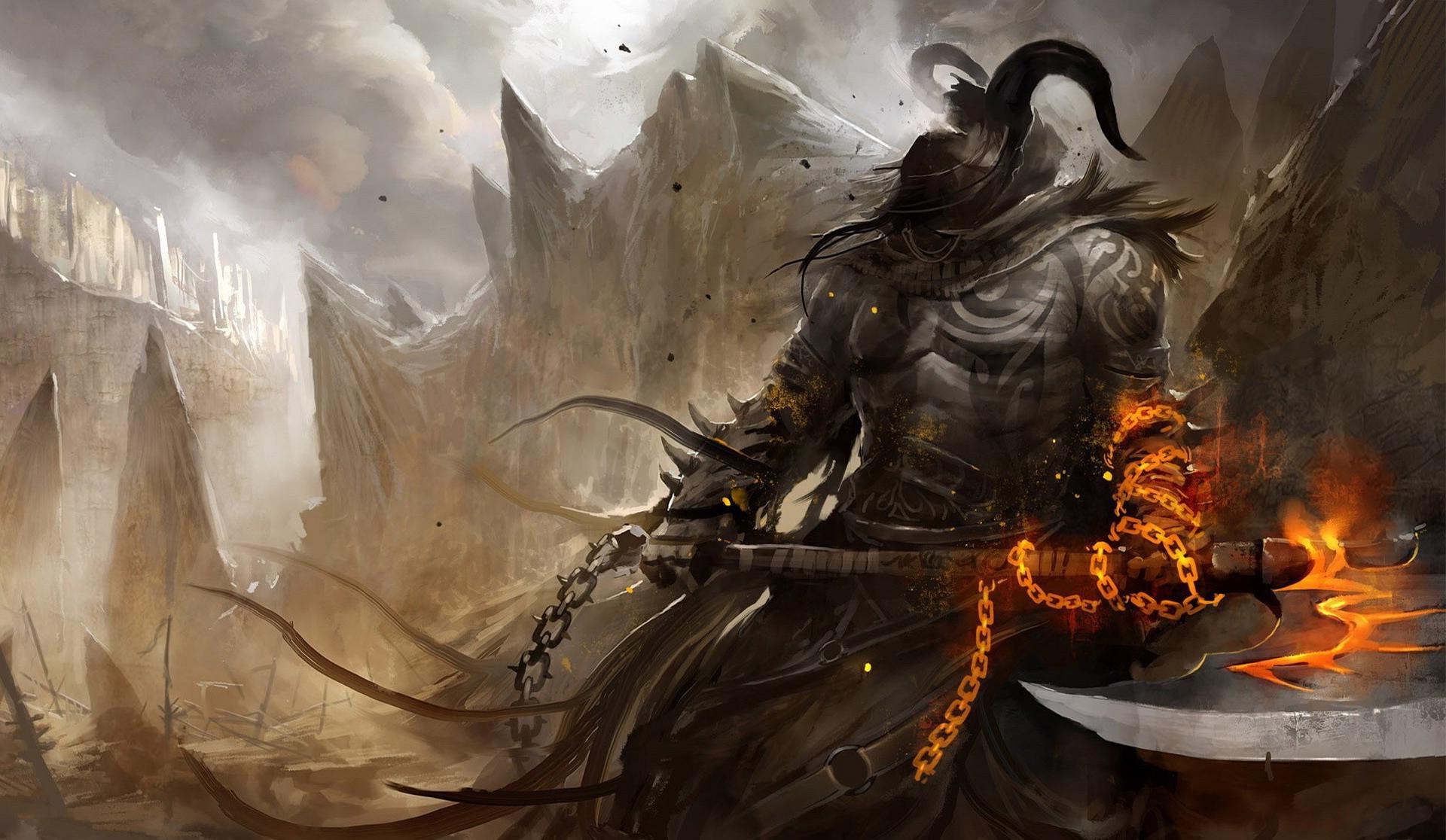 デスクトップ壁紙 戦い 武器 悪魔 神話 鎧 軍人 アートワーク