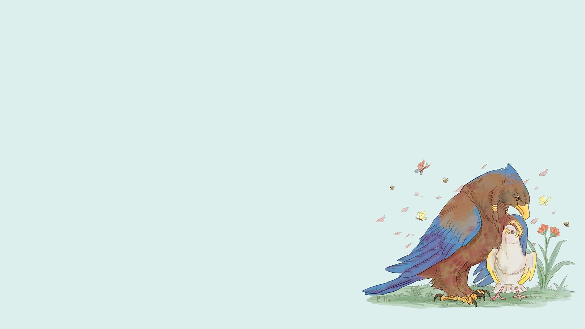 Wallpaper Illustration Birds Cartoon Mercy Overwatch