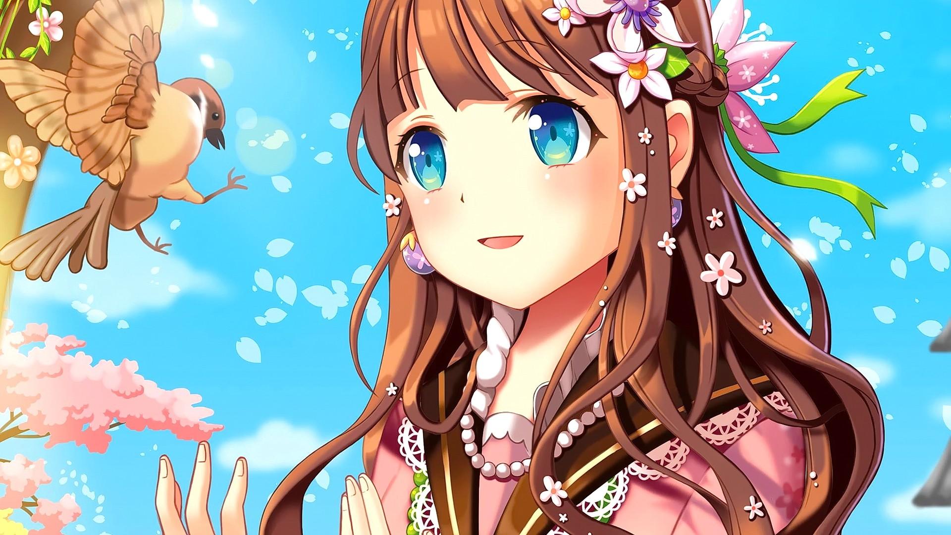 Brunette anime girl with blue eyes