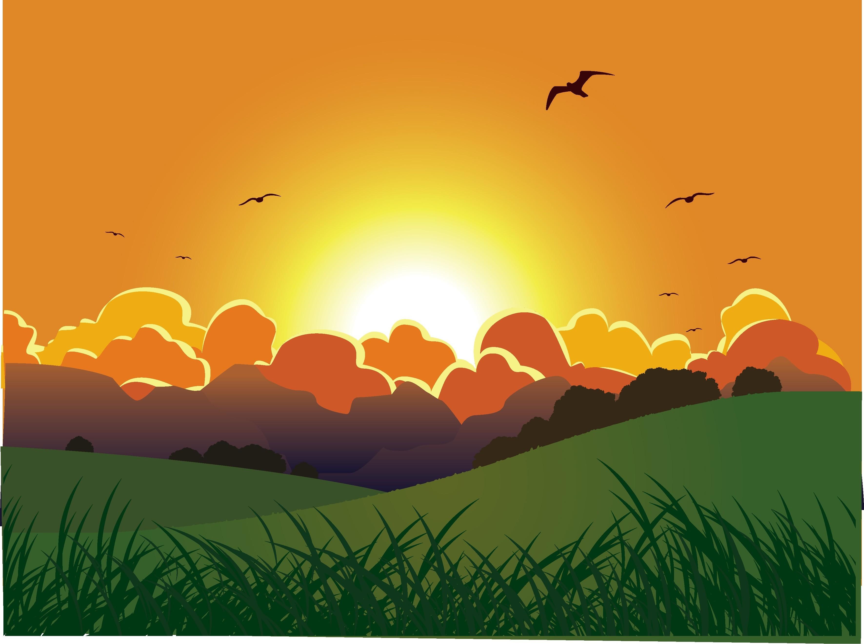 Картинка восход для детей на прозрачном фоне
