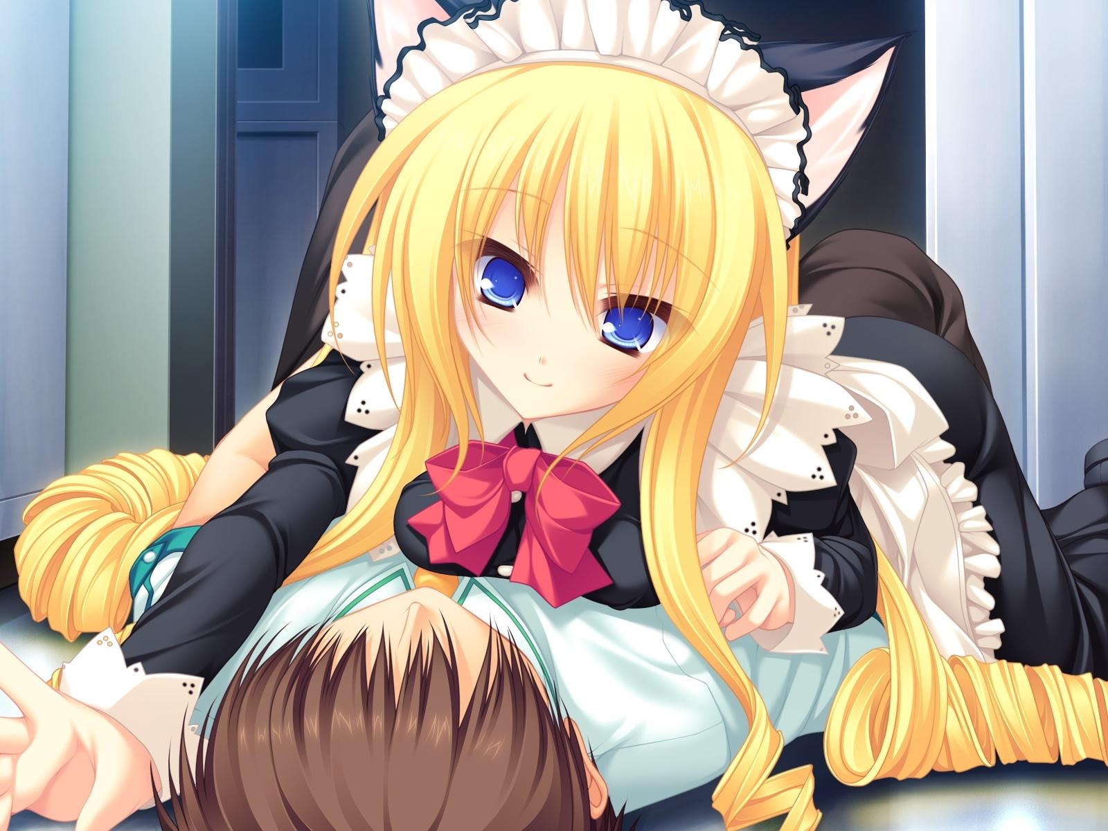 Wallpaper  Illustration, Blonde, Anime, Cartoon, Black