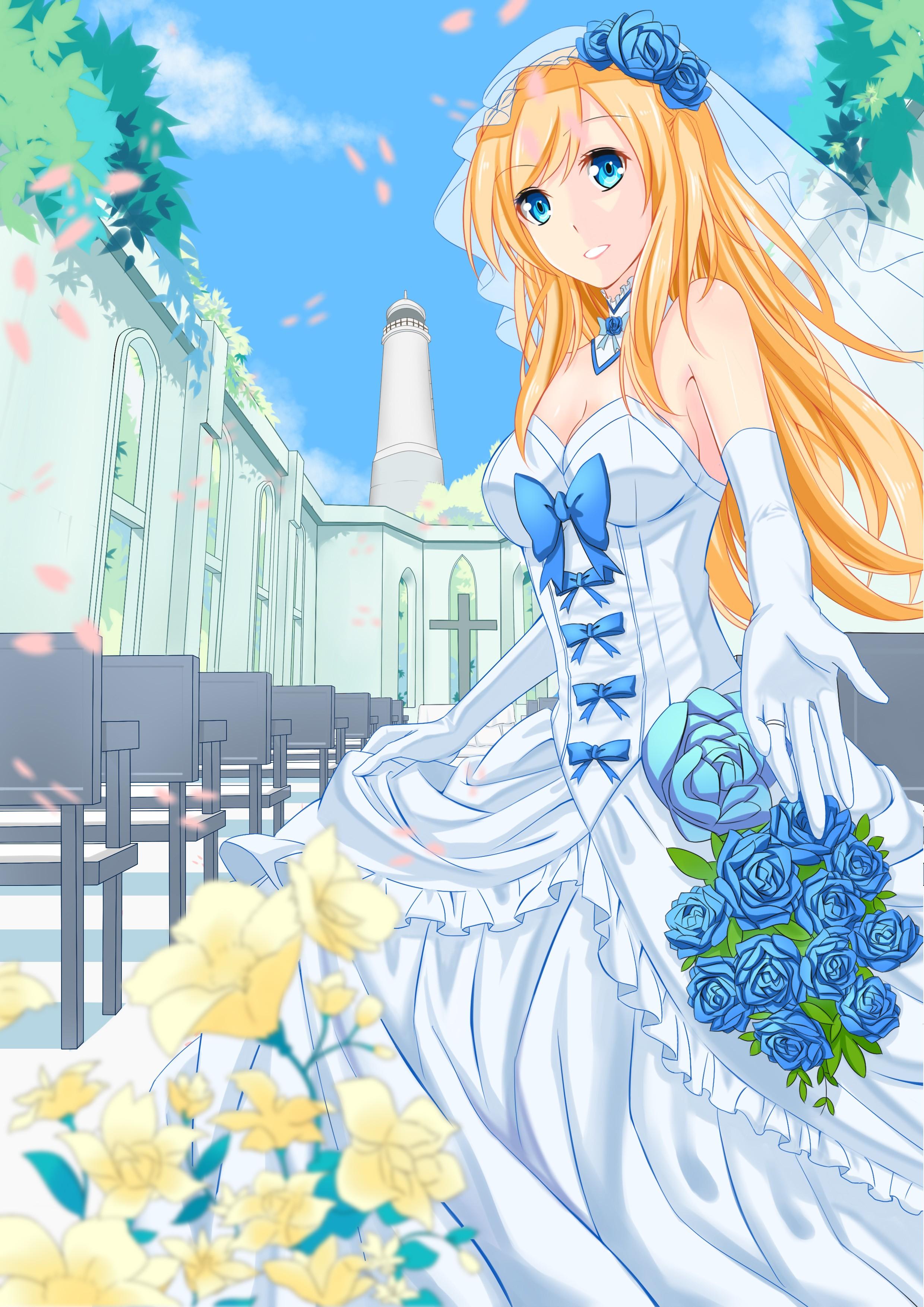 Anime girl dirty blonde hair blue eyes