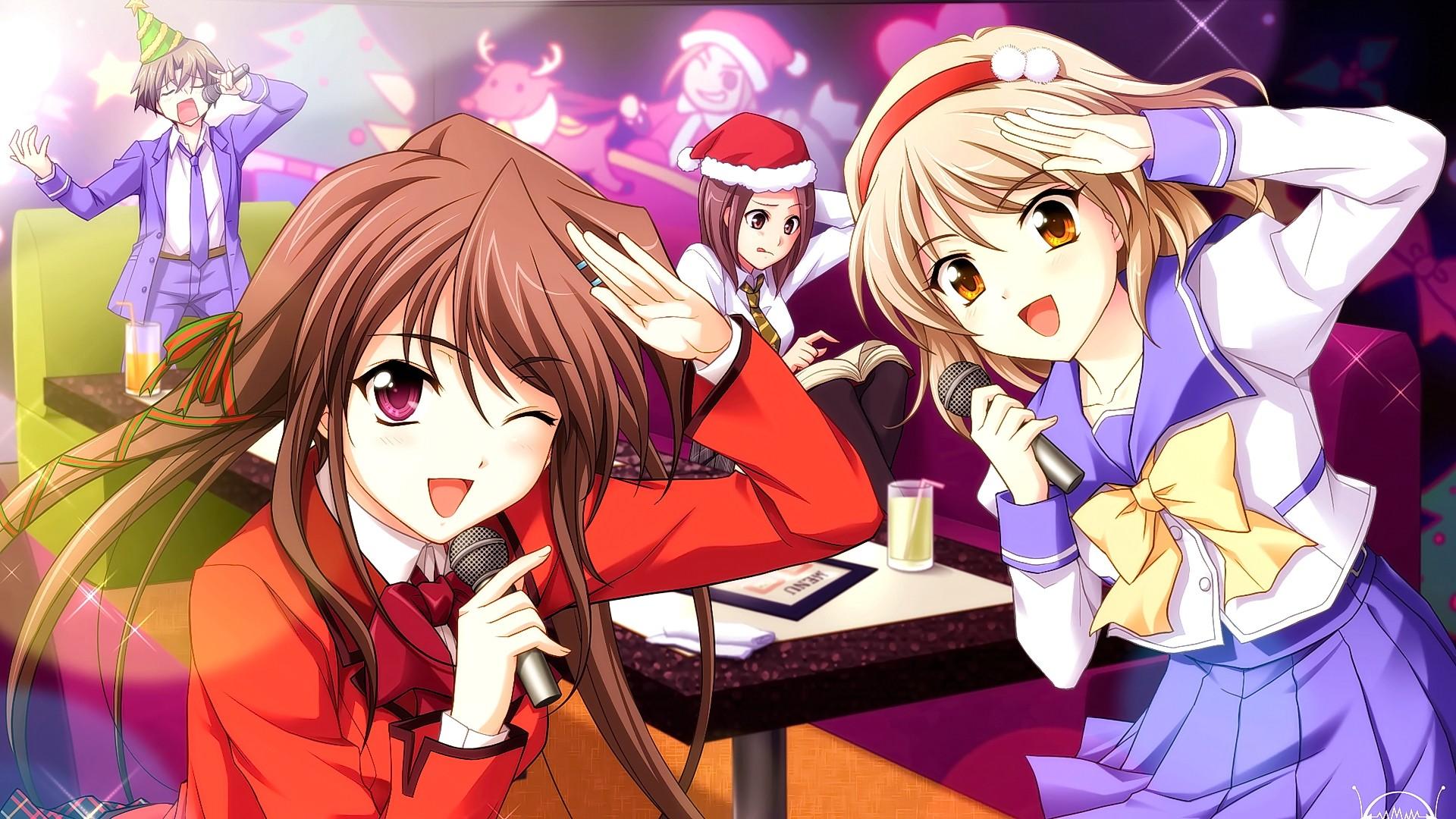Wallpaper : illustration, flowers, anime girls, open mouth
