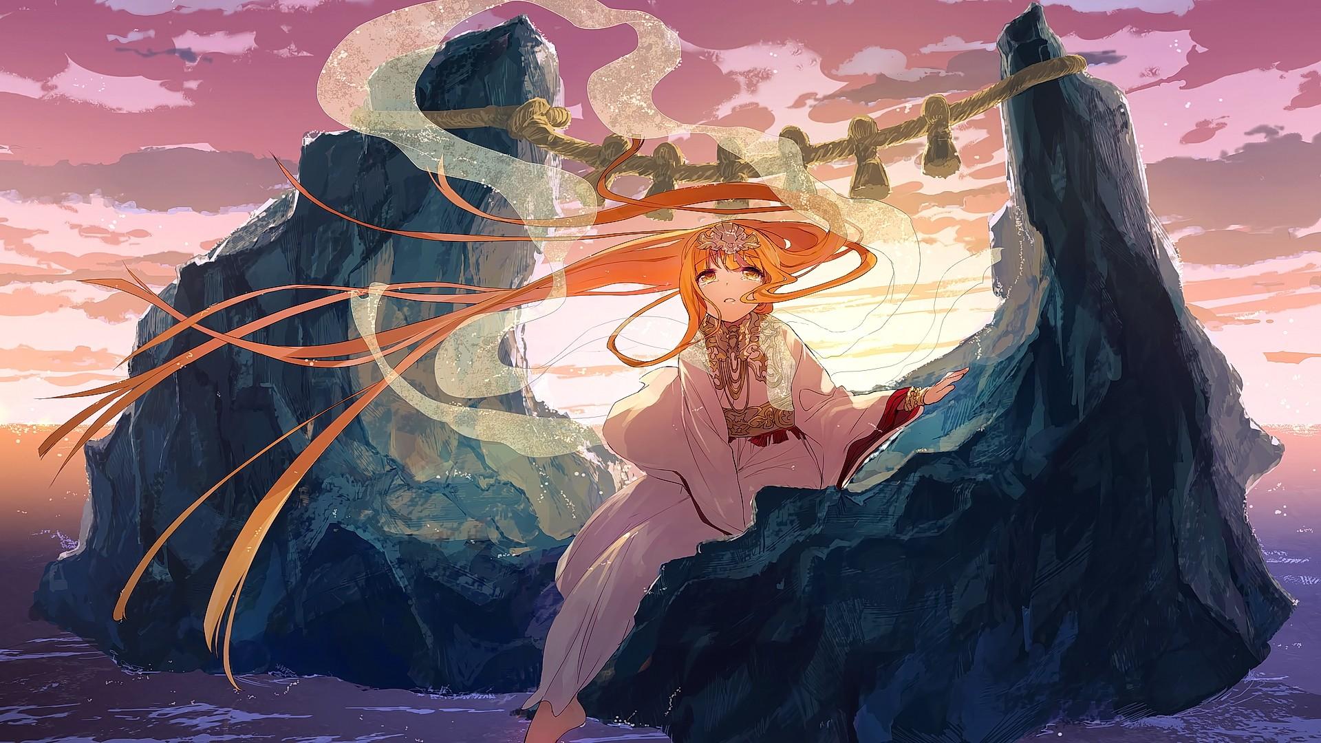 Wallpaper Illustration Blonde Looking Away Long Hair Anime