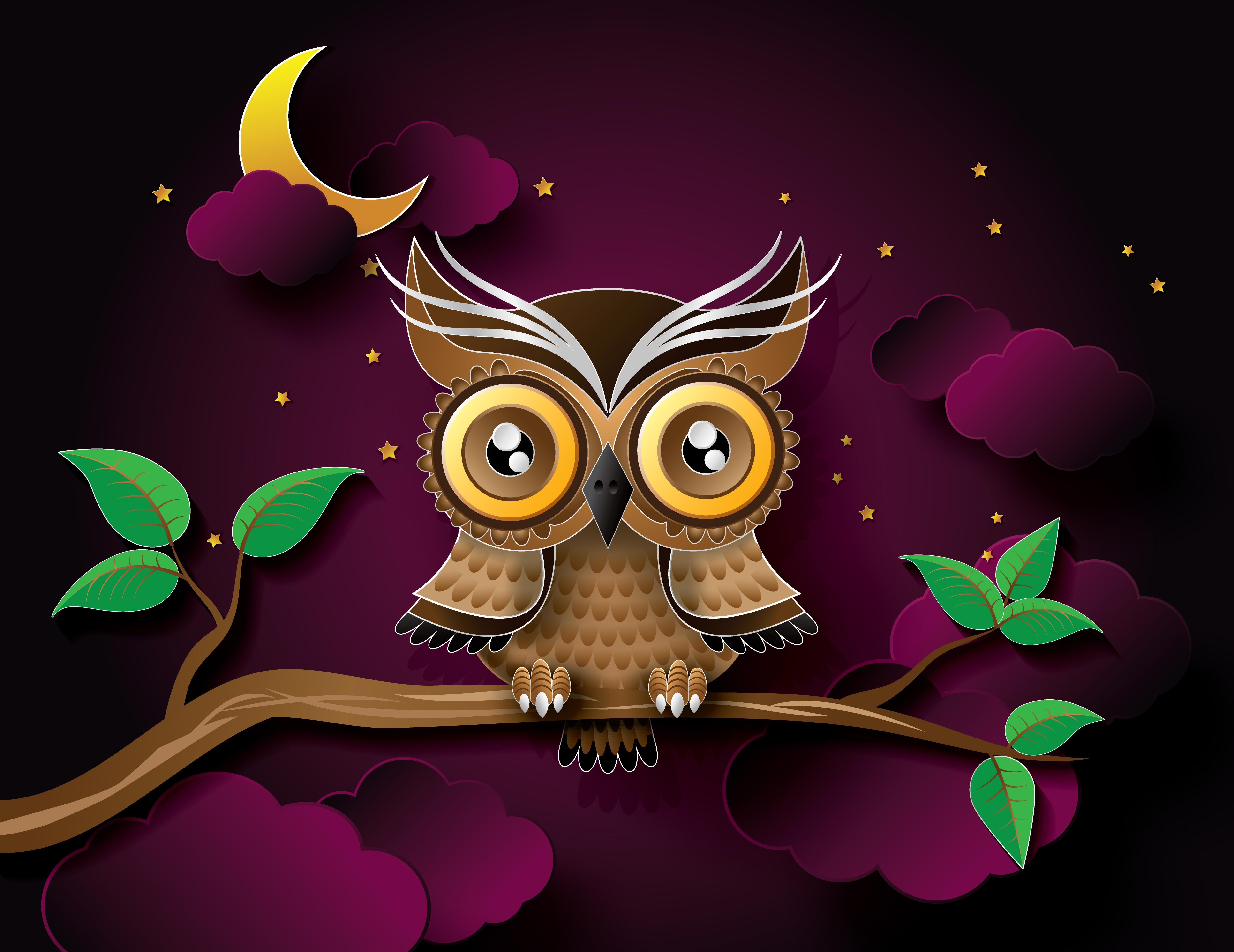 Illustration Branch Bird Of Prey Owl ART