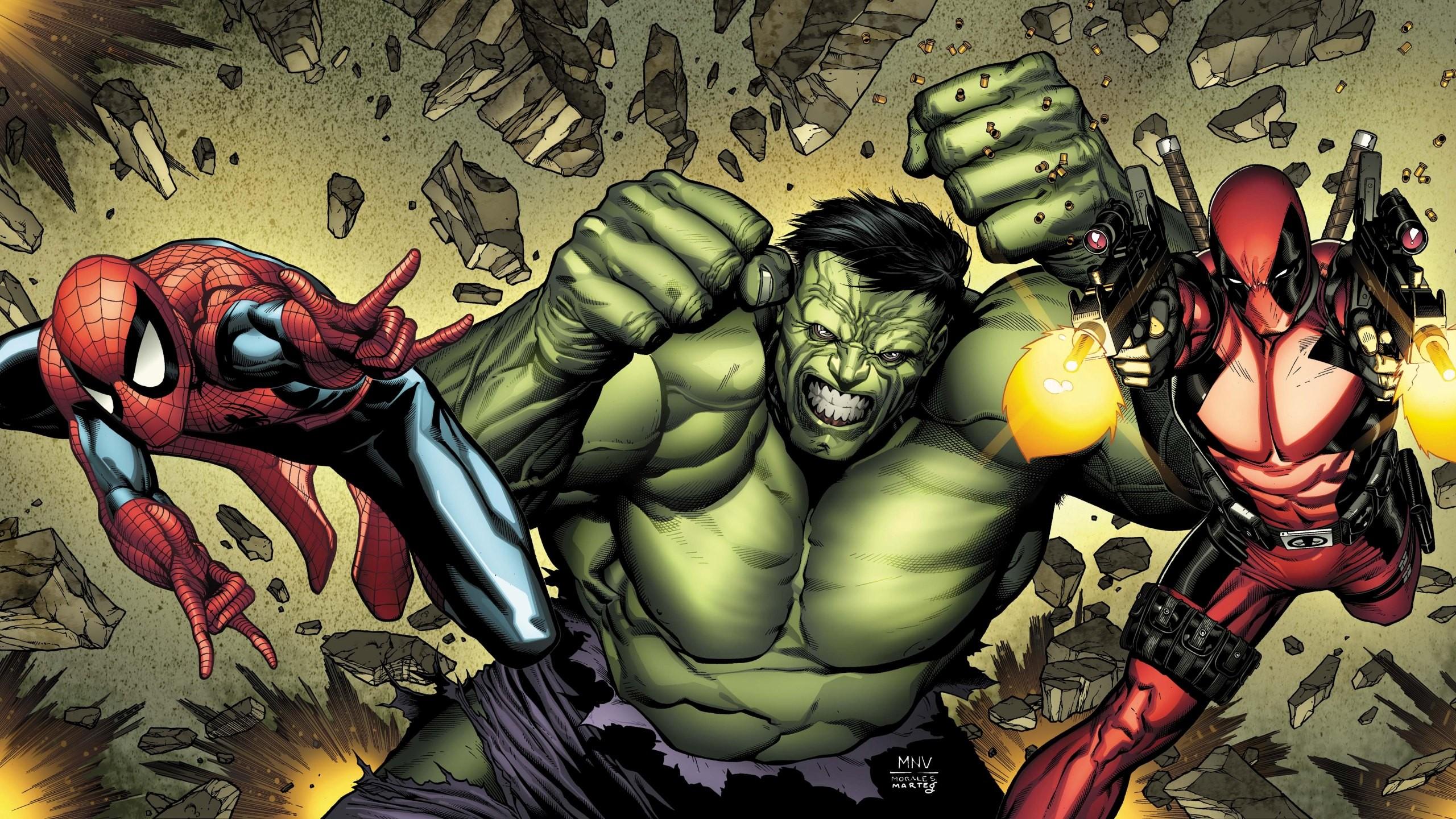 Illustration Cartoon Marvel Comics Hulk Spider Man Deadpool Book Screenshot Artist Comic Fiction