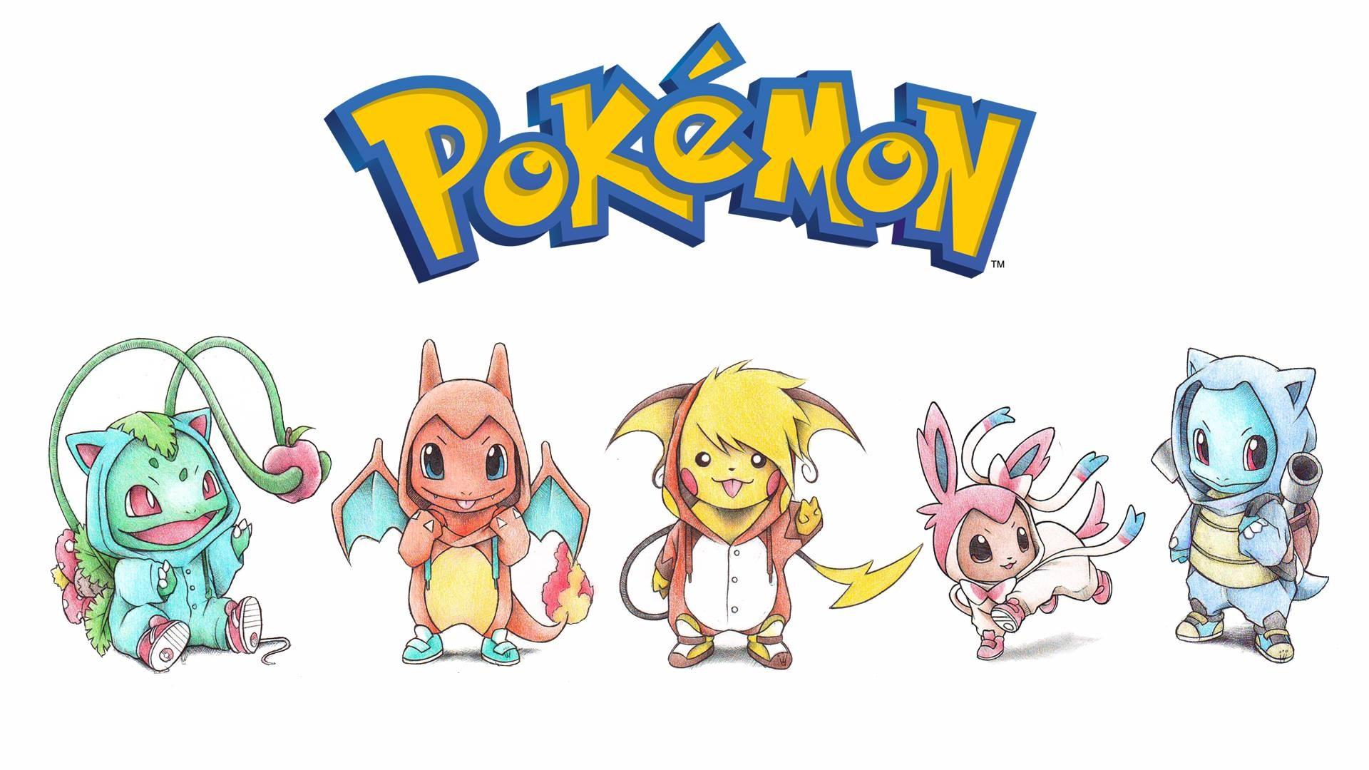 Wallpaper ilustrasi gambar kartun Pikachu Eevee