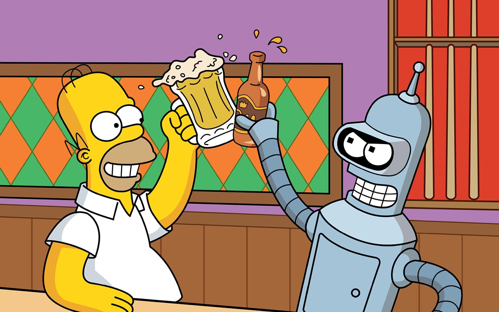 Sfondi illustrazione cartone animato birra i simpson