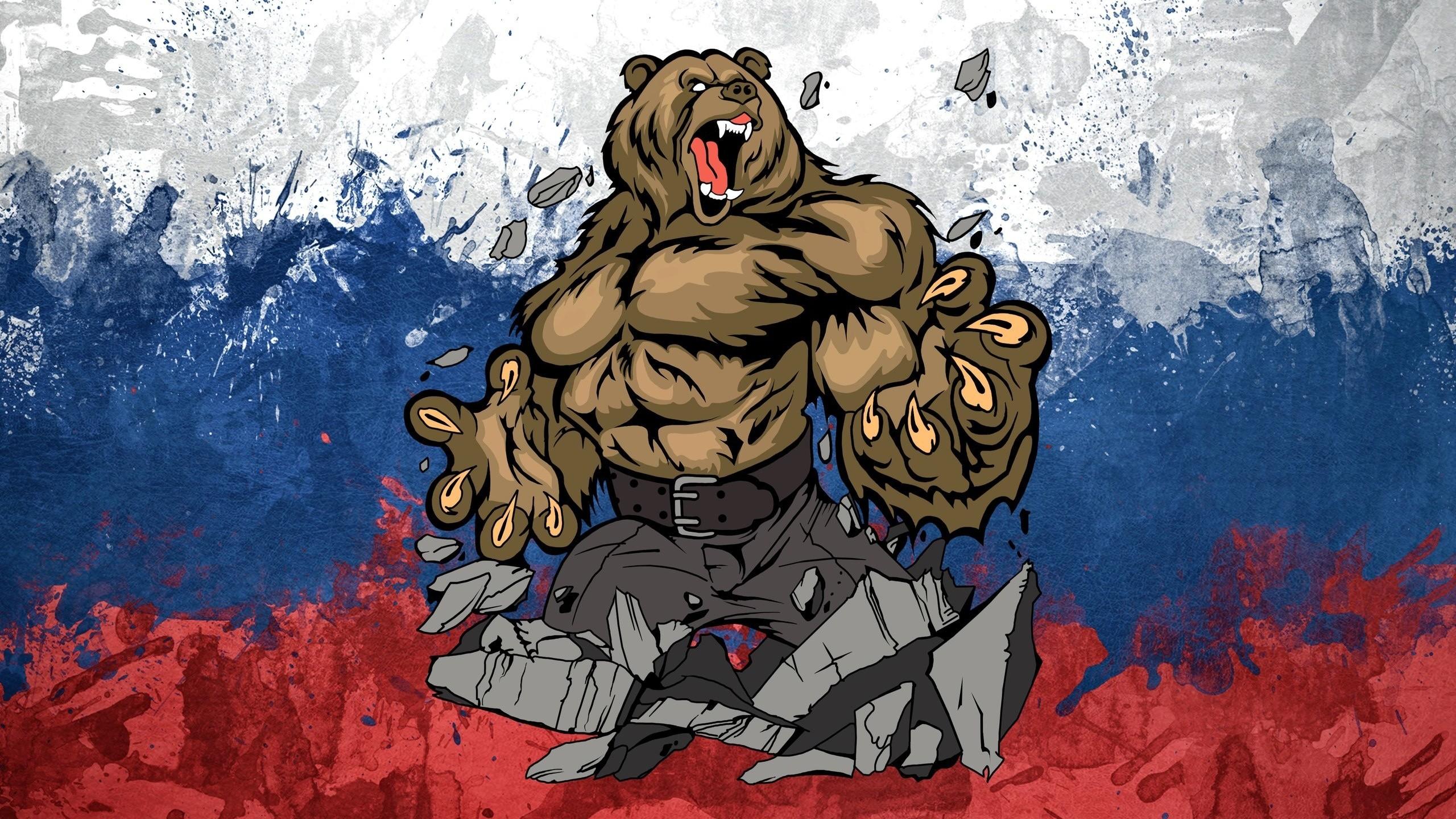 Wallpaper Ilustrasi Gambar Kartun Bendera Beruang Rusia
