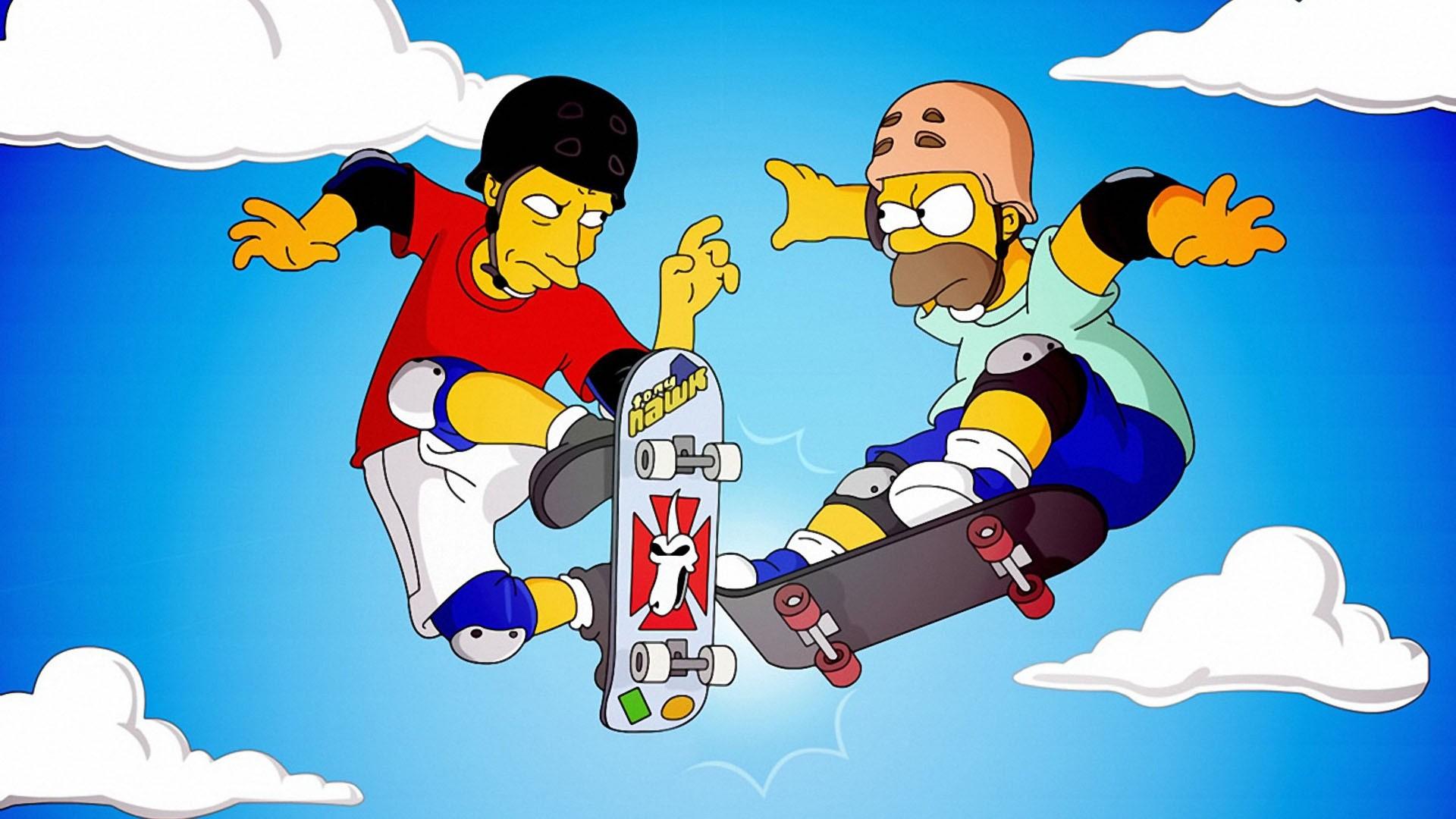 Ilustrasi gambar kartun skateboard simpsons homer simpson bermain