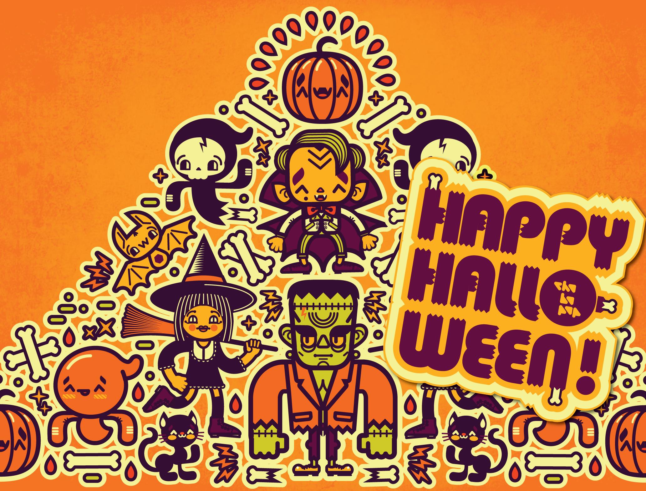 Wallpaper : illustration, cat, Halloween, pumpkin, text