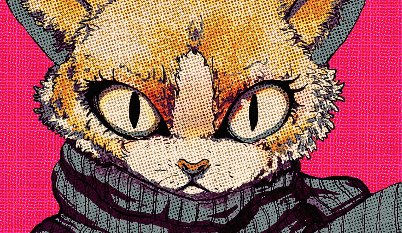 Wallpaper Illustration Cat Cartoon Head Pop Art Black Cat