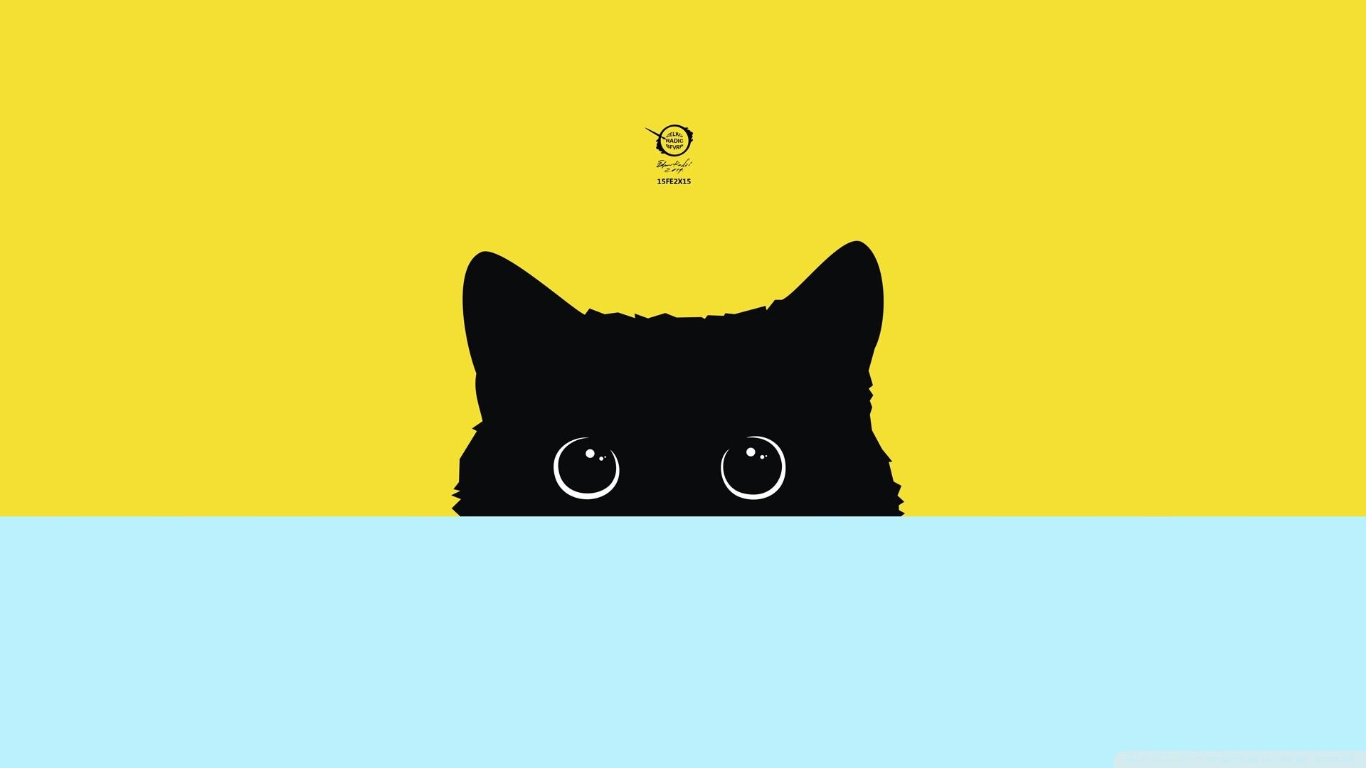 wallpaper : illustration, cat, digital art, minimalism, logo