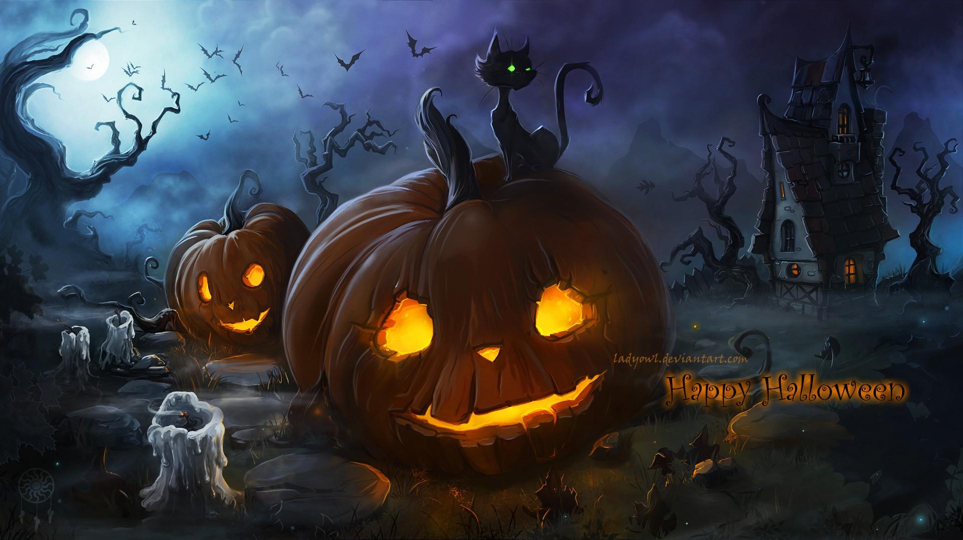illustration cat fantasy art night spooky Halloween pumpkin candles Moon glowing eyes midnight darkness screenshot computer wallpaper 210041