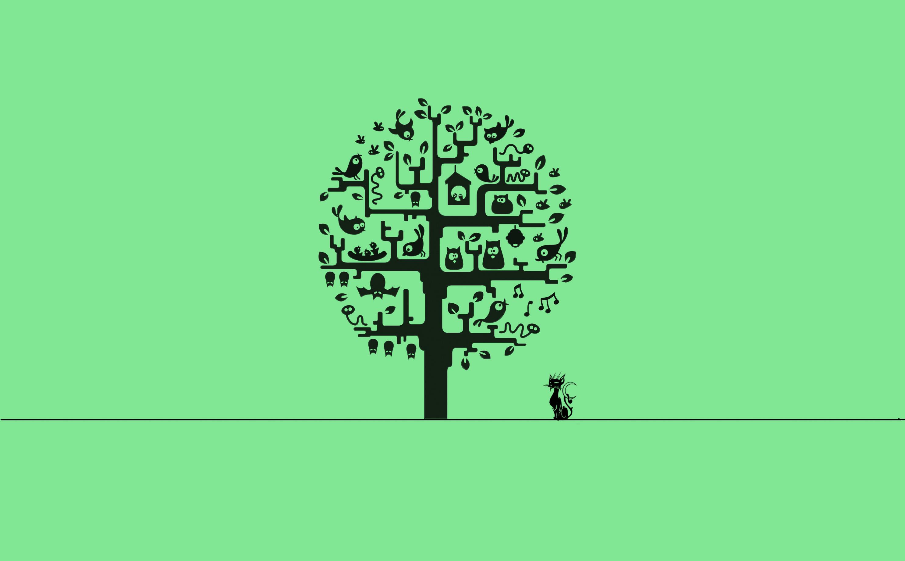 Wallpaper Illustration Cat Minimalism Text Logo