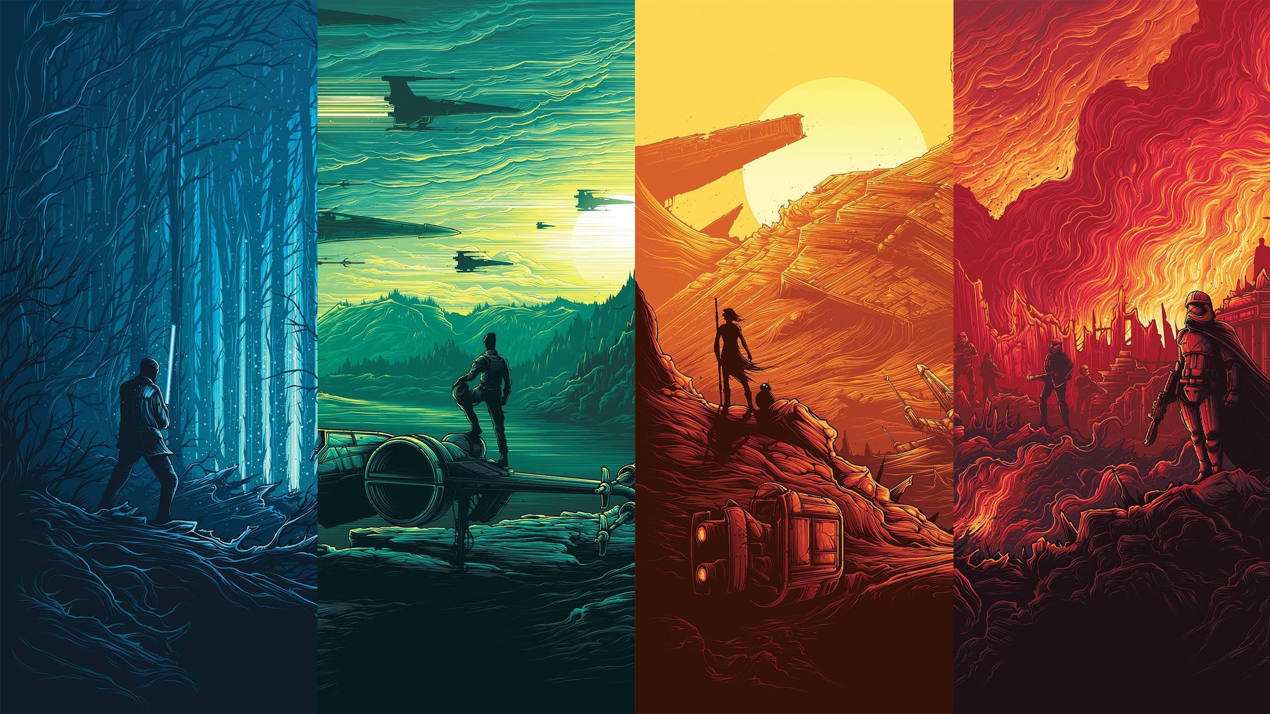 Wallpaper Illustration Collage Star Wars The Force Awakens Art Screenshot Computer Wallpaper 2560x1440 Cybersickness 80141 Hd Wallpapers Wallhere