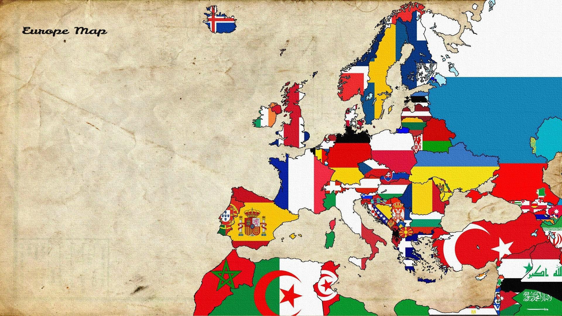 Wallpaper illustration collage cartoon flag europe world map illustration collage cartoon flag map europe world map play old map art child art gumiabroncs Gallery