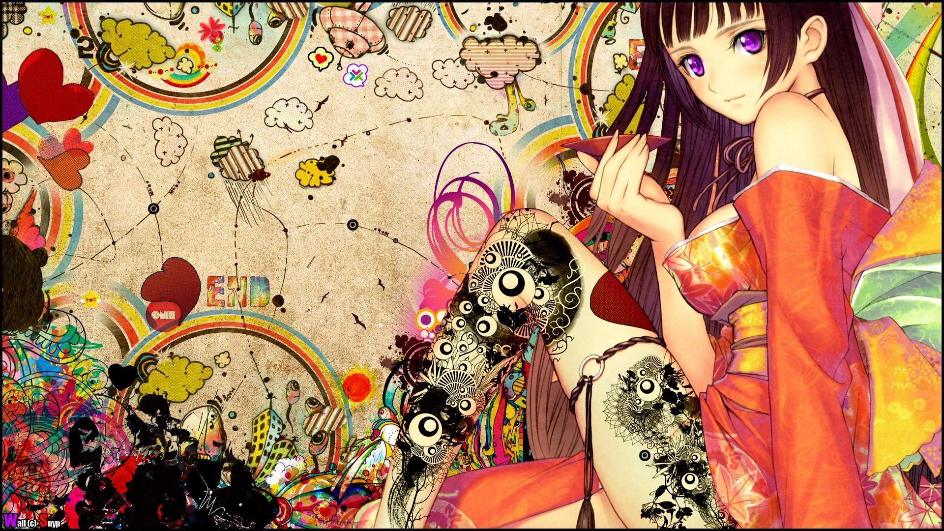 Fond Décran Illustration Collage Manga Modèle Des Bandes