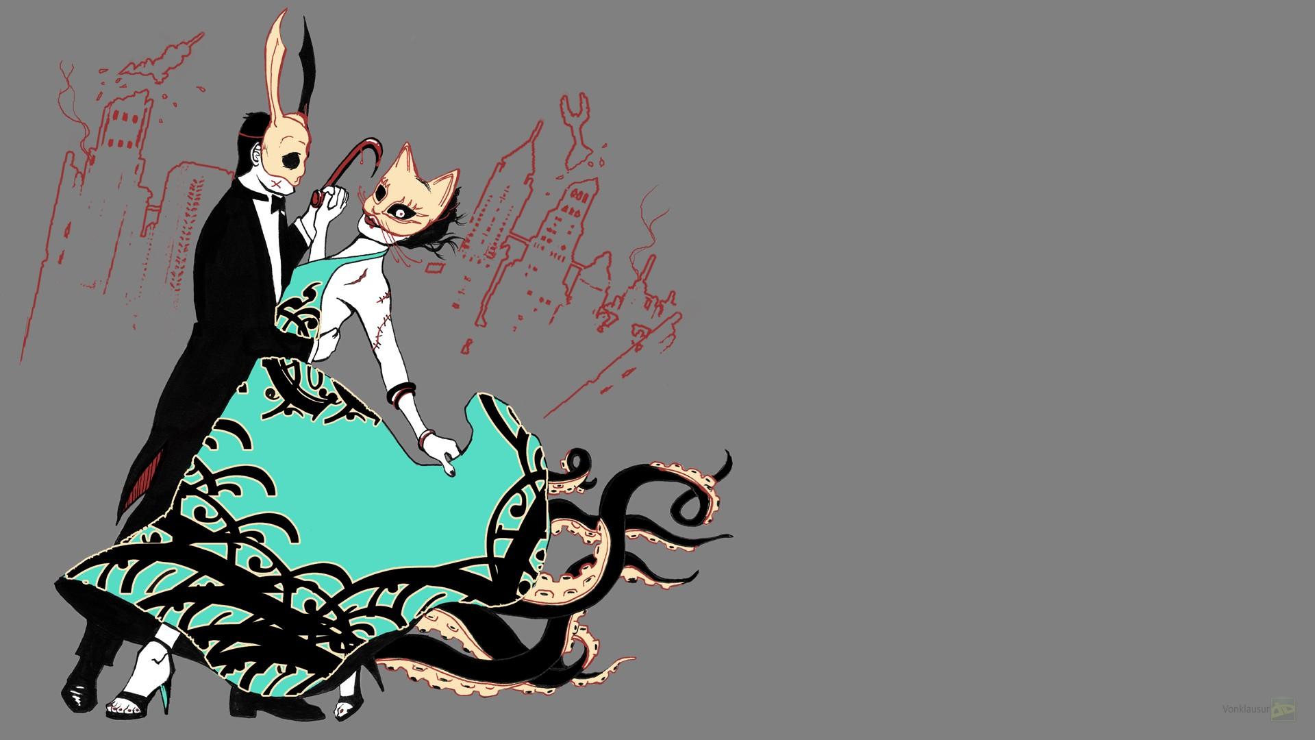 Wallpaper Illustration Graphic Design Roar Movie: Masaüstü : Illüstrasyon, Dans, Maske, Karikatür, Grafik