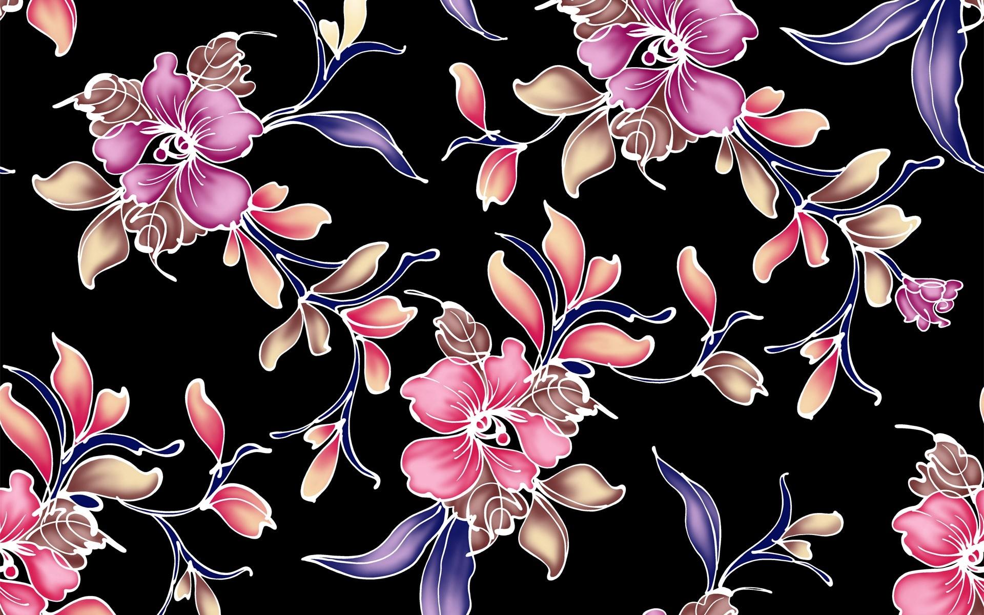Wallpaper Illustration Dark Flowers Purple Cherry Blossom